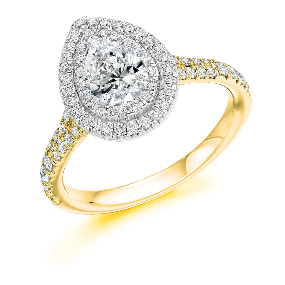 Platinum 0.78ct Pear Cut Diamond Double Halo Engagement Ring