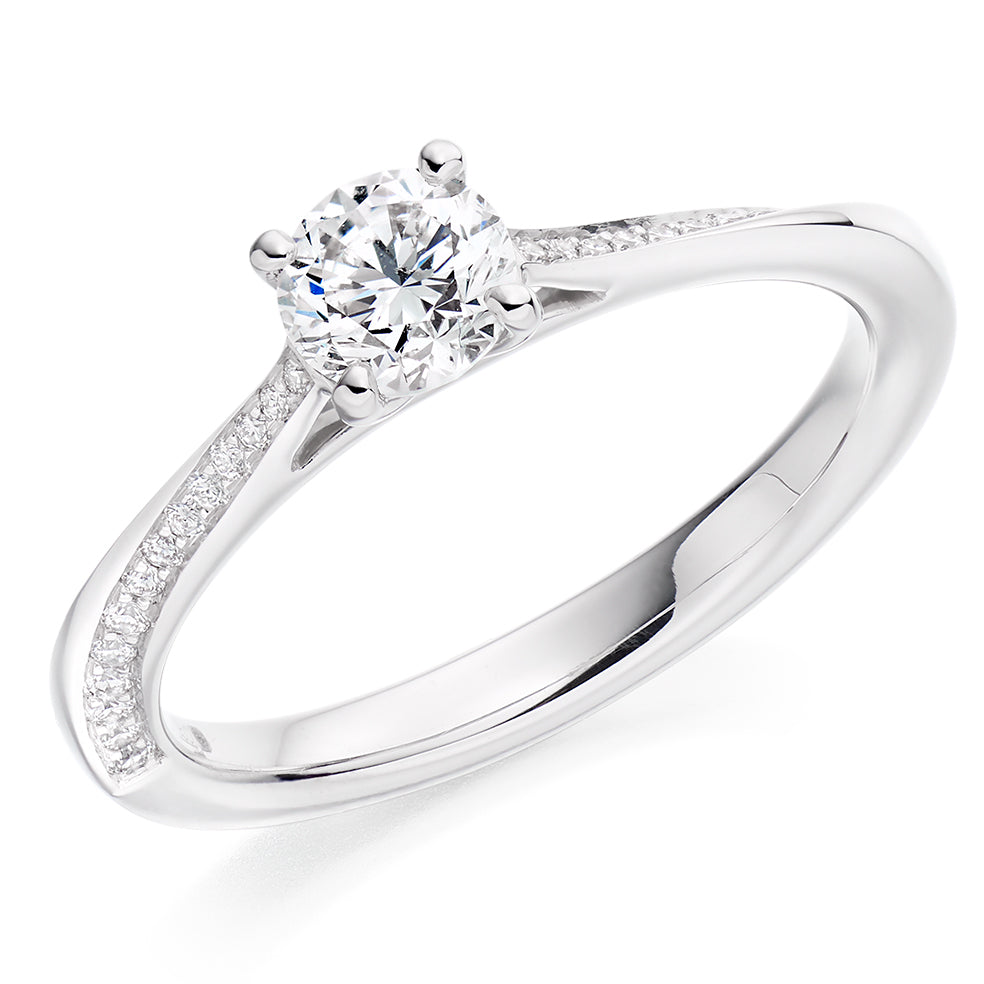 18ct White Gold 0.50ct Round Brilliant Cut Solitaire with Diamond Set Shoulders Engagement Ring