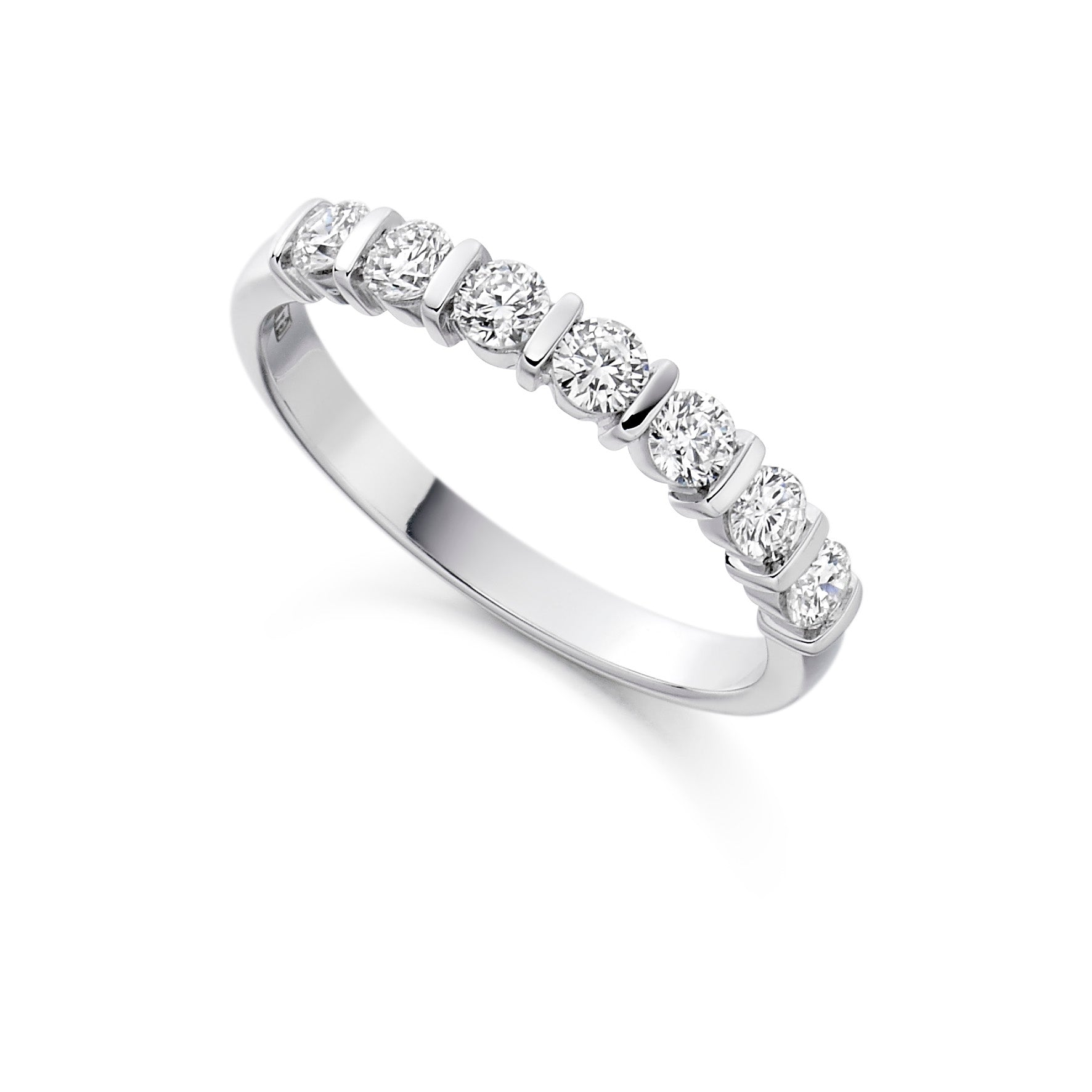 18ct White Gold 0.5ct Round Brilliant Cut Bar Set Vintage Eternity Ring