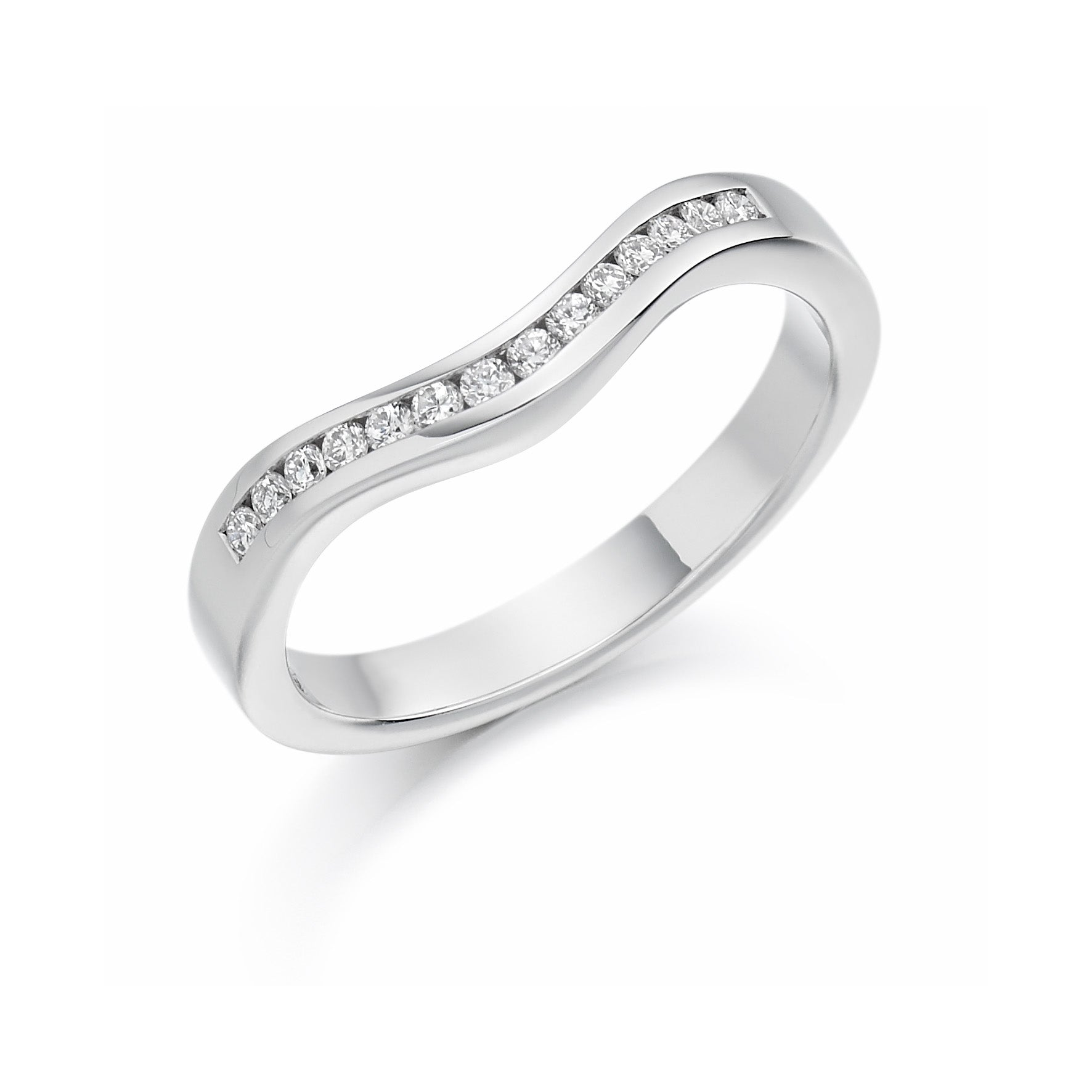 0.16ct Round Brilliant Cut Diamonds Curved Band - Eternity Ring - (Home Try-On)