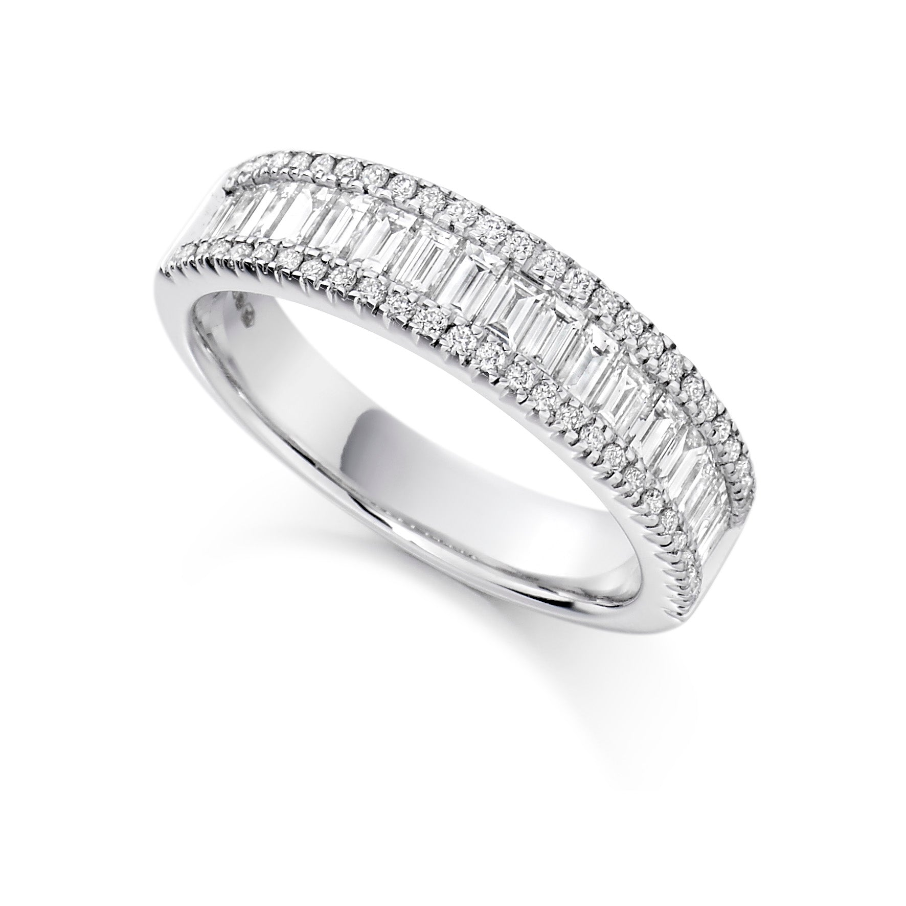 1.25ct Round Brilliant Cut and Baguette Cut Diamond Diamond Eternity Ring - (Home Try-On)