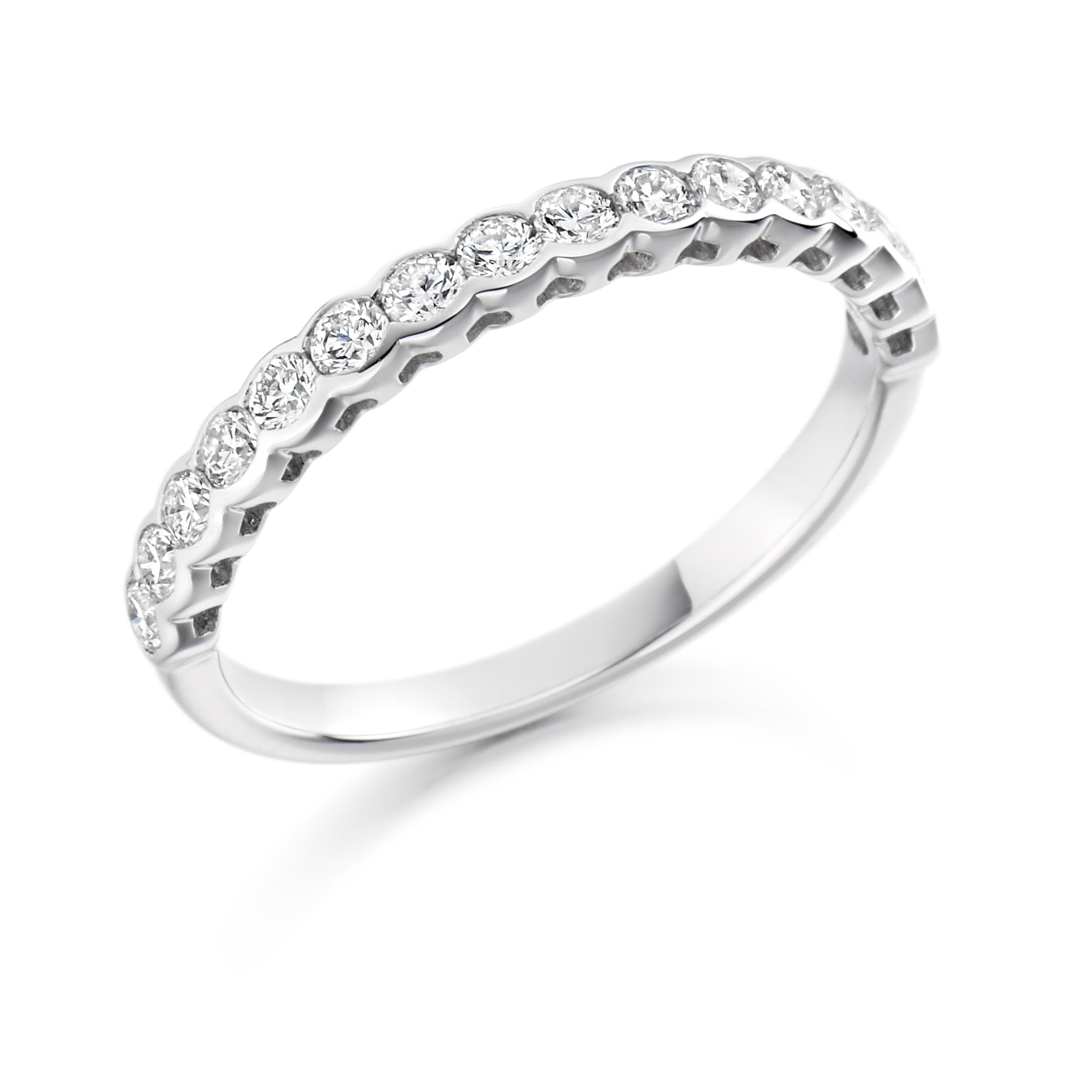 0.50ct Round Brilliant Cut Diamond Bezel Set Wedding Ring - (Home Try-On)