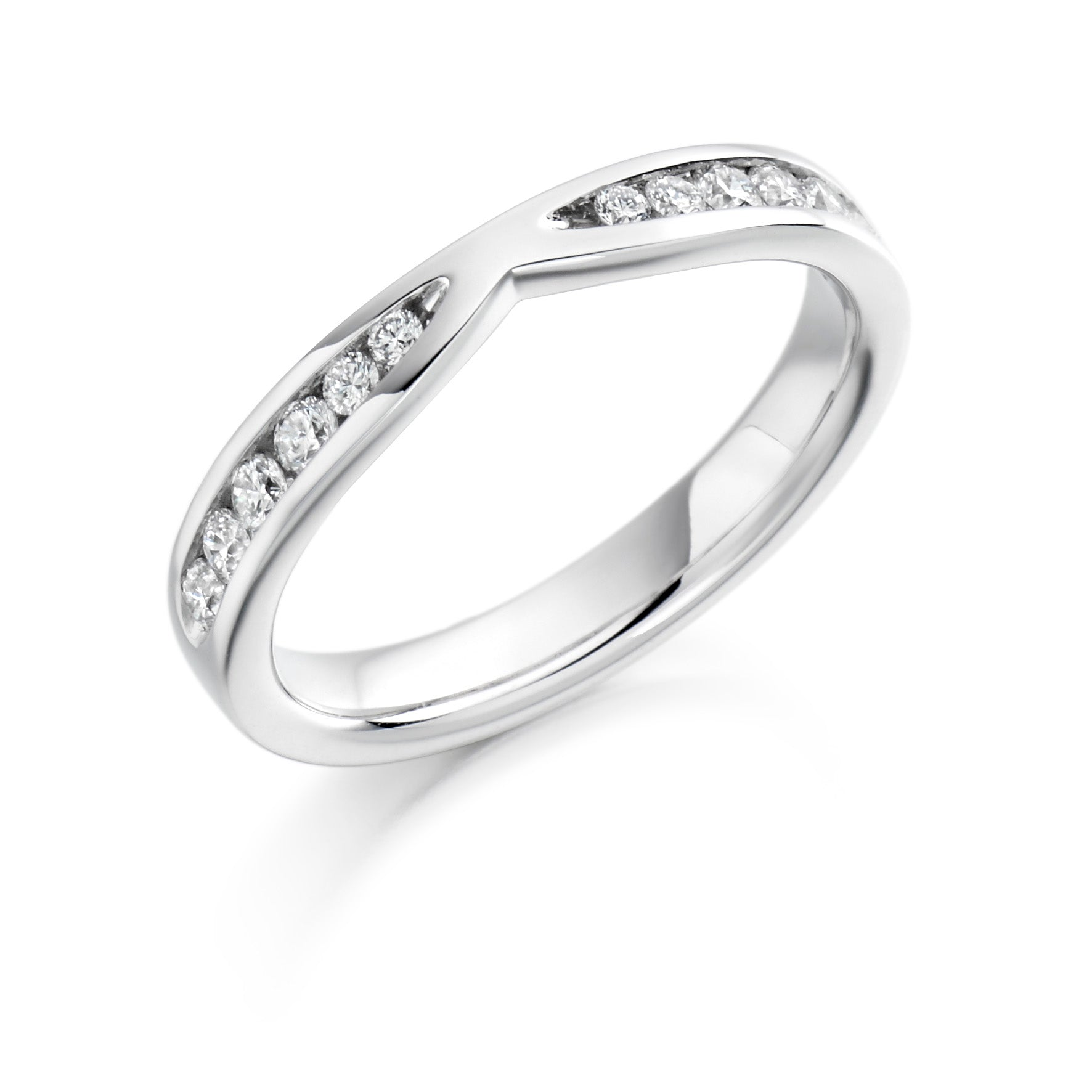 0.37ct Round Brilliant Cut Diamonds Curved Band - Wedding Ring - (Home Try-On)