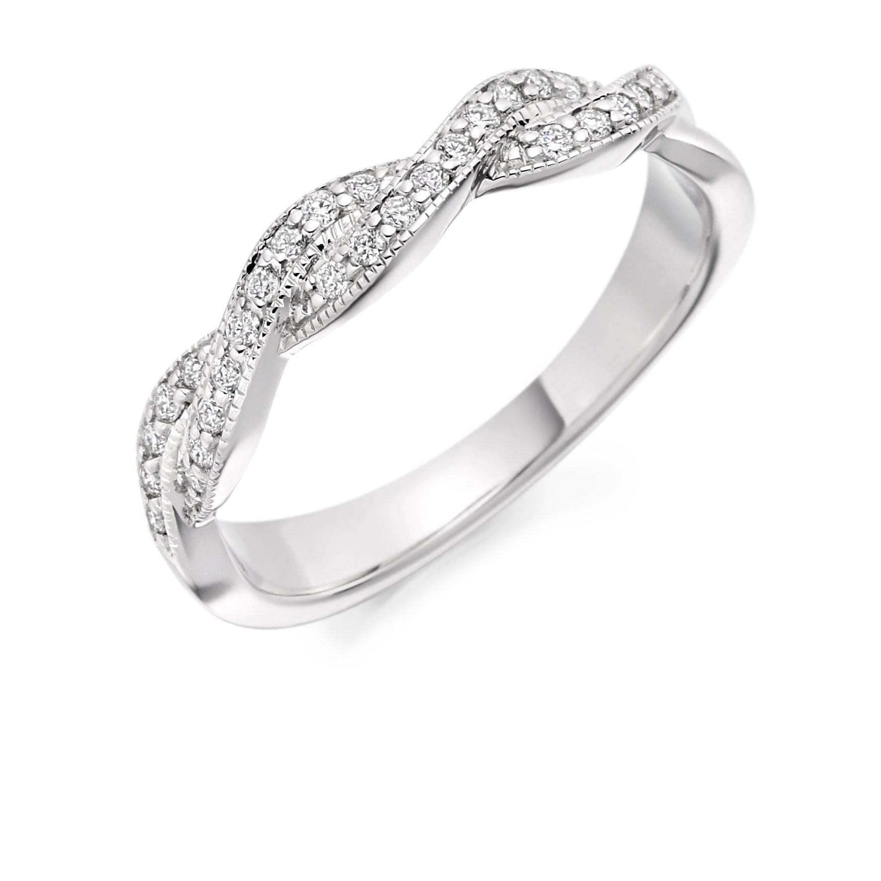 0.22ct Round Brilliant Cut Diamonds Crossover - Eternity Ring - (Home Try-On)