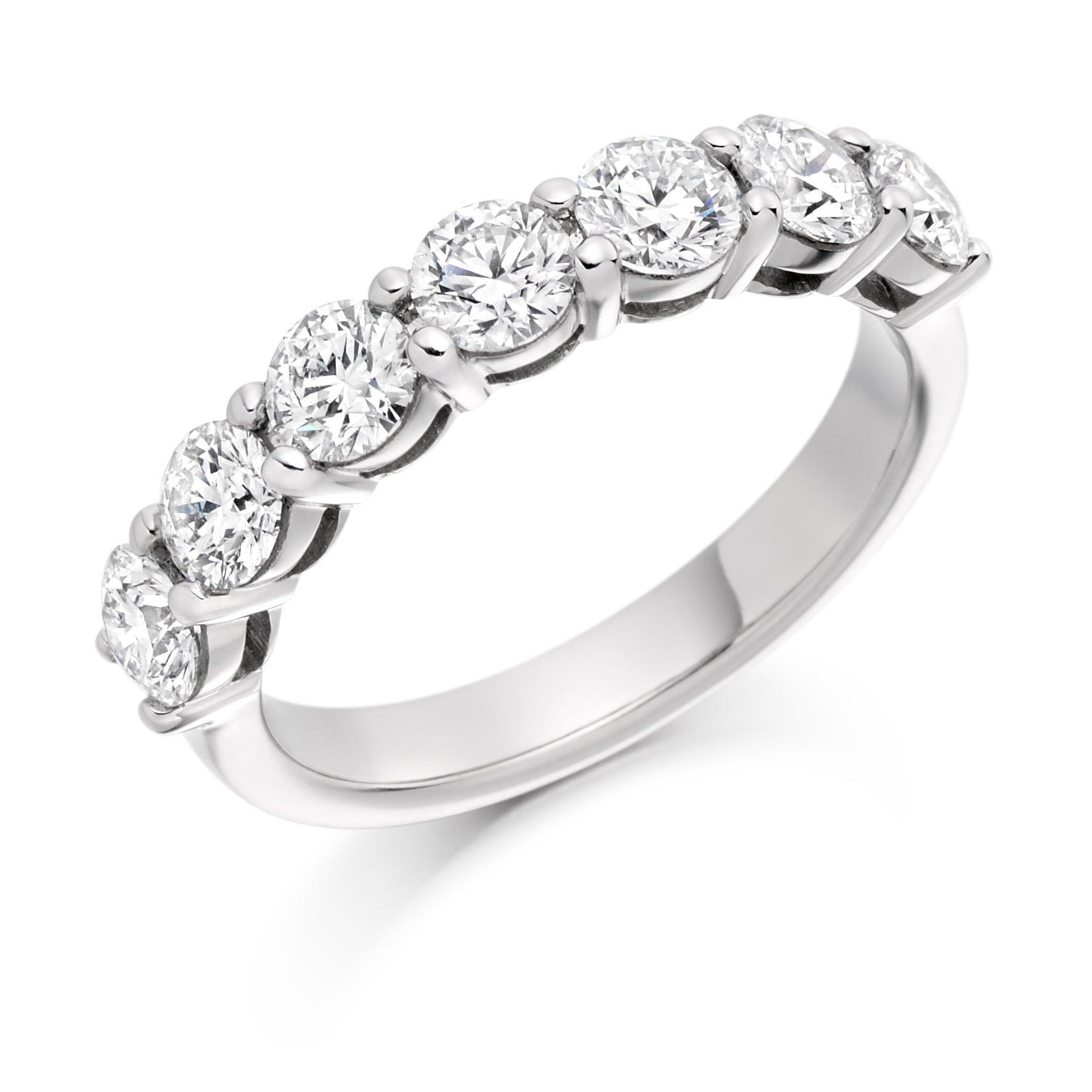 1.5ct Round Brilliant Cut Diamonds Claw Set Wedding Ring - (Home Try-On)