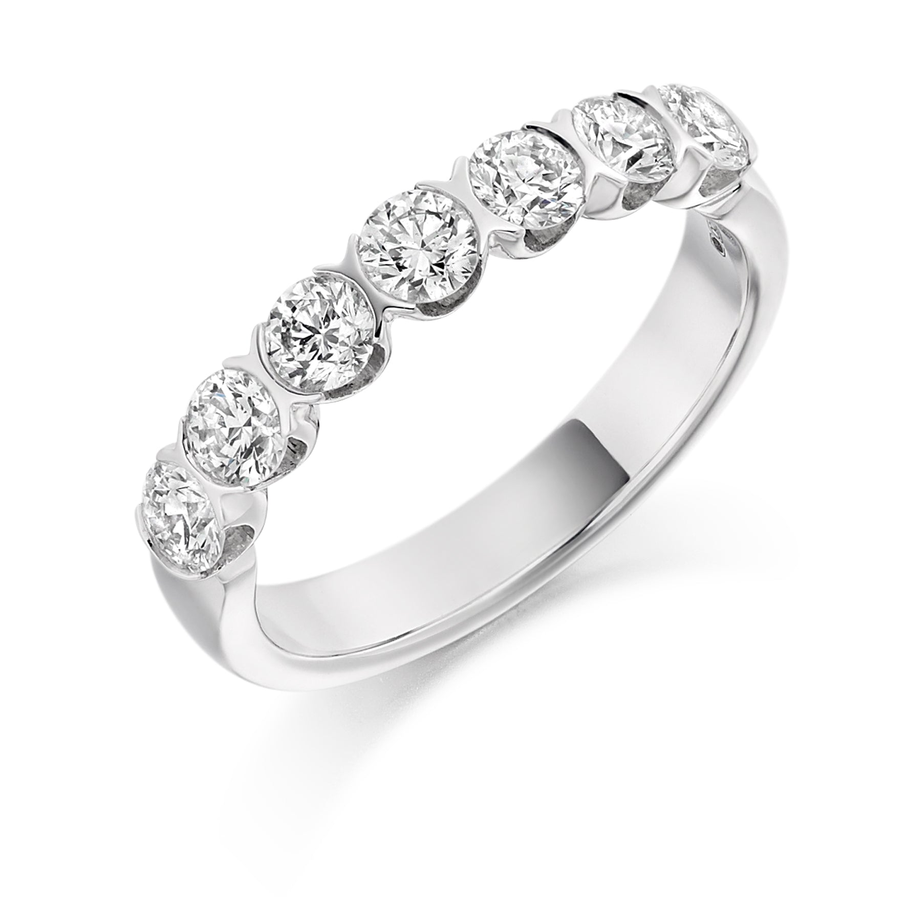 1ct Round Brilliant Cut Bar Set Diamond Wedding Ring - (Home Try-On)
