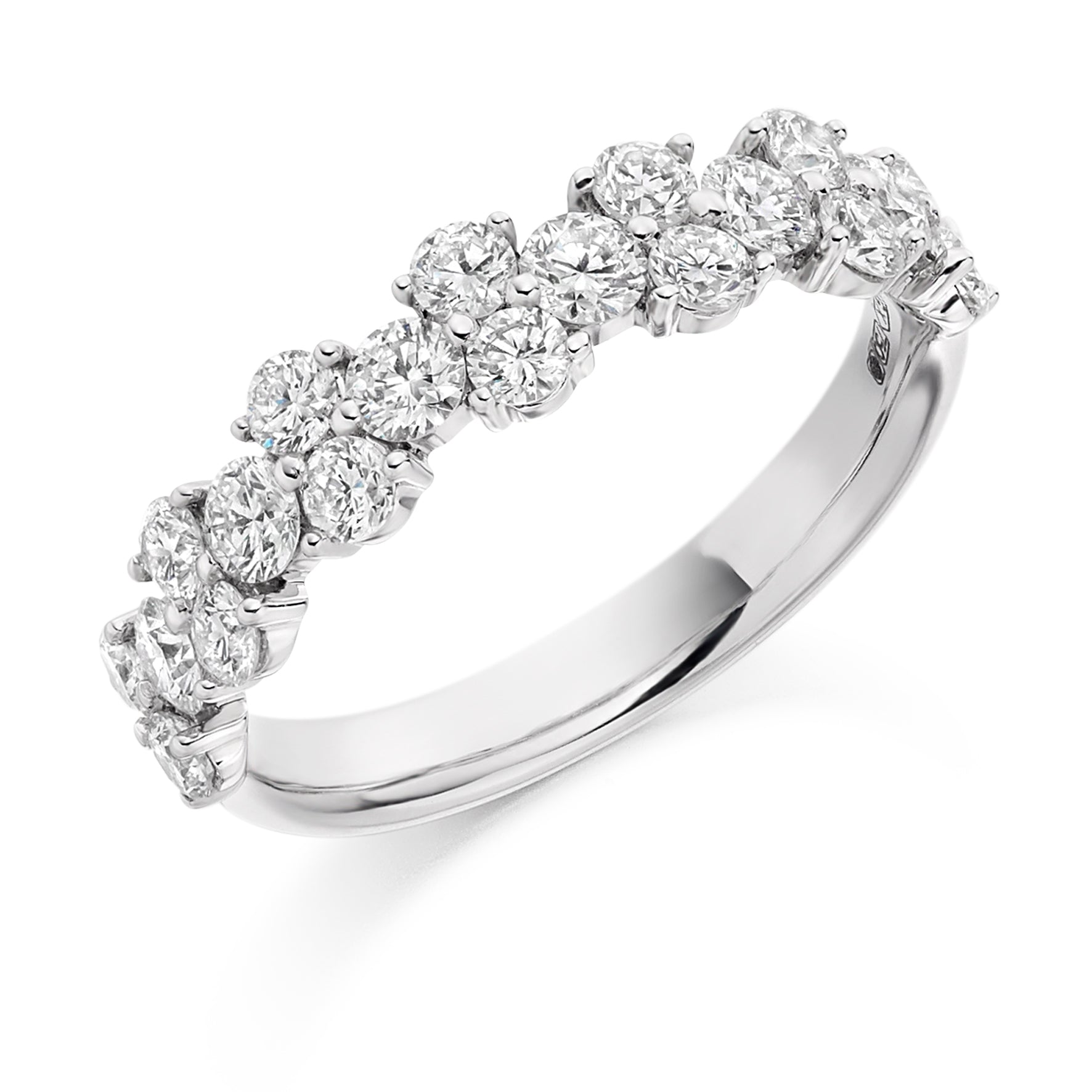 1.2ct Round Brilliant Cut Diamonds Cluster Wedding Ring - (Home Try-On)