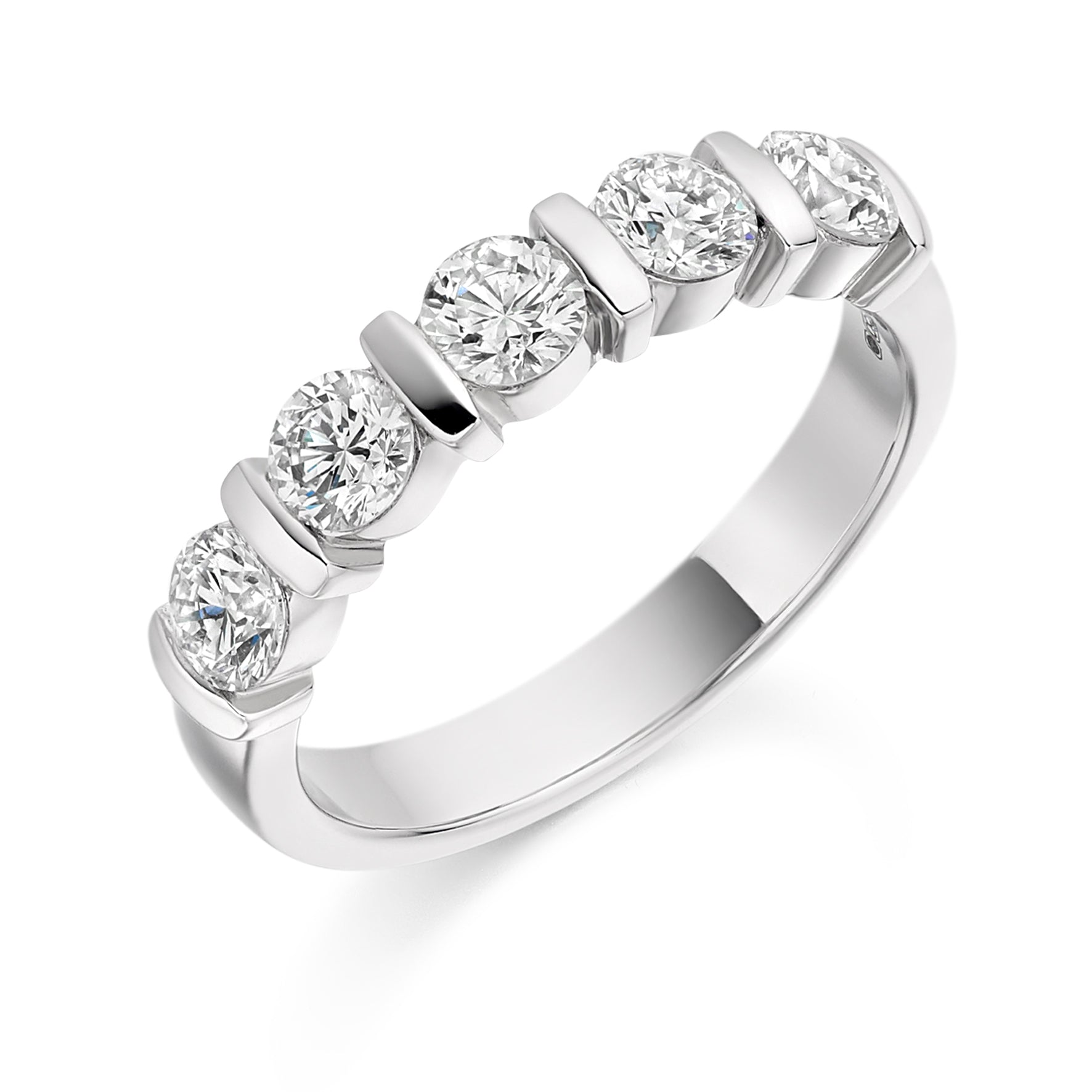18ct White Gold 1ct Round Brilliant Cut Diamonds Bar Set Vintage Wedding Ring