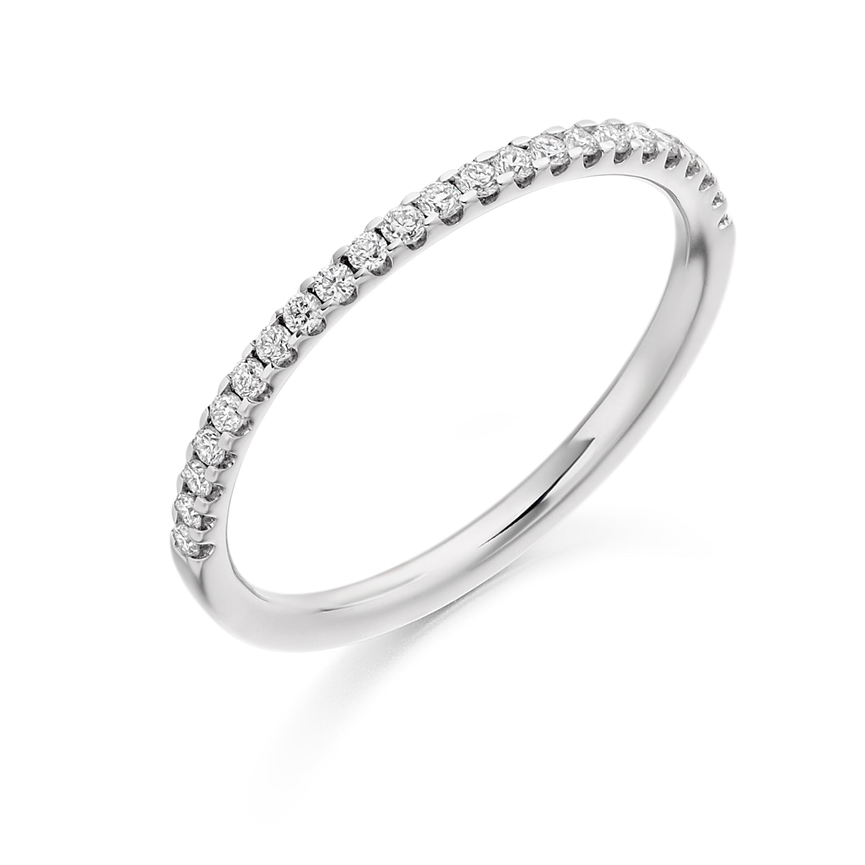 18ct White Gold 0.25 Carat Round Brilliant Cut Diamonds Vintage Wedding Ring
