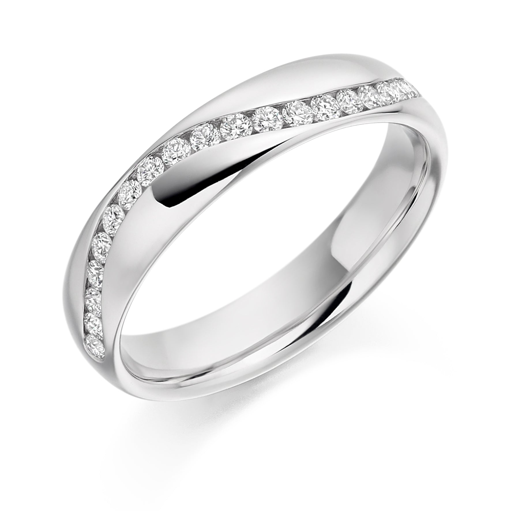 18ct White Gold 0.3ct Round Brilliant Cut Diamonds Curved Channel Vintage Wedding Ring