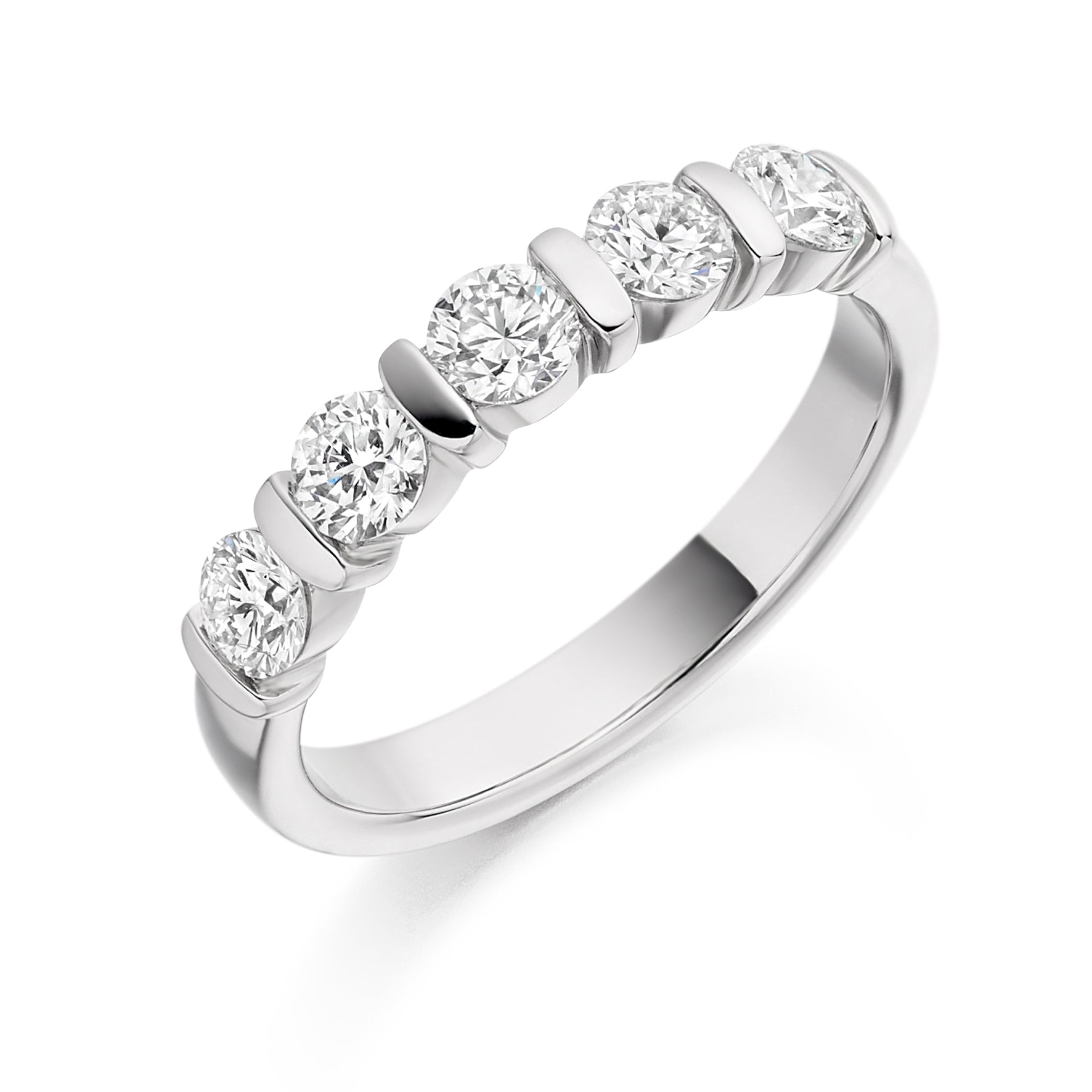 0.75ct Round Brilliant Cut Bar Set Diamond Wedding Ring - (Home Try-On)