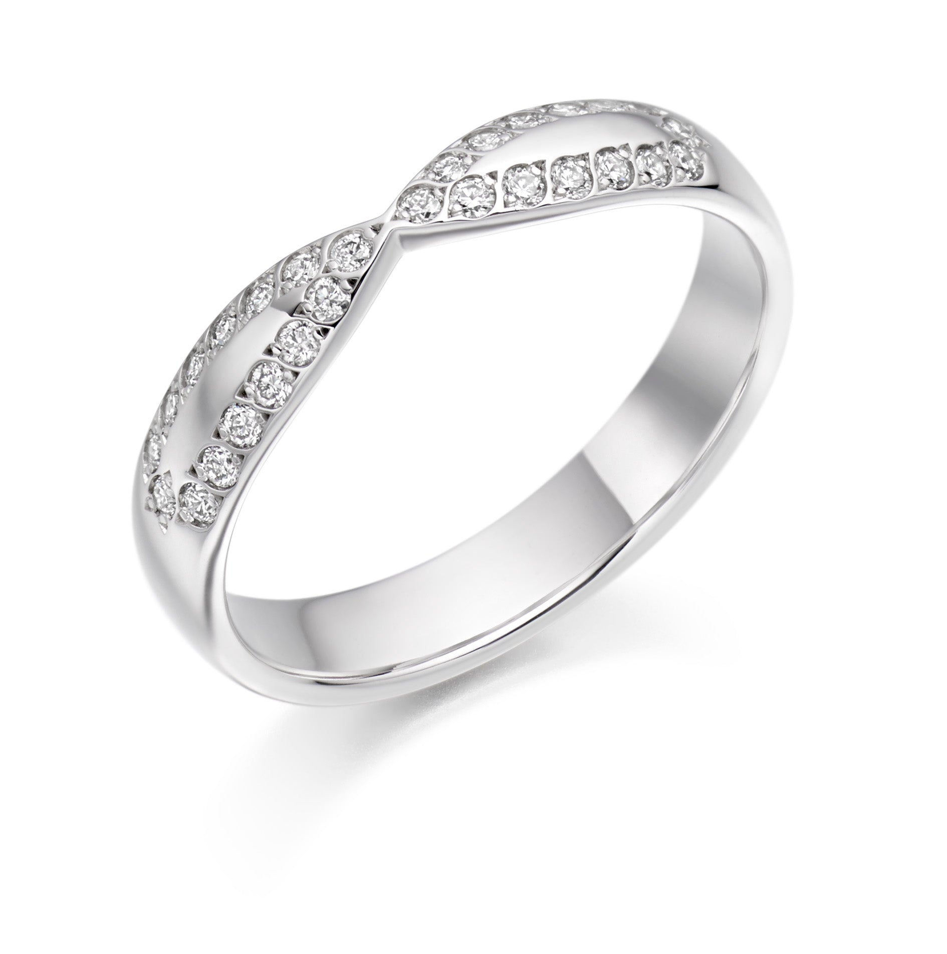 0.25ct Round Brilliant Cut Diamonds Curved and Shaped- Wedding Ring - (Home Try-On)