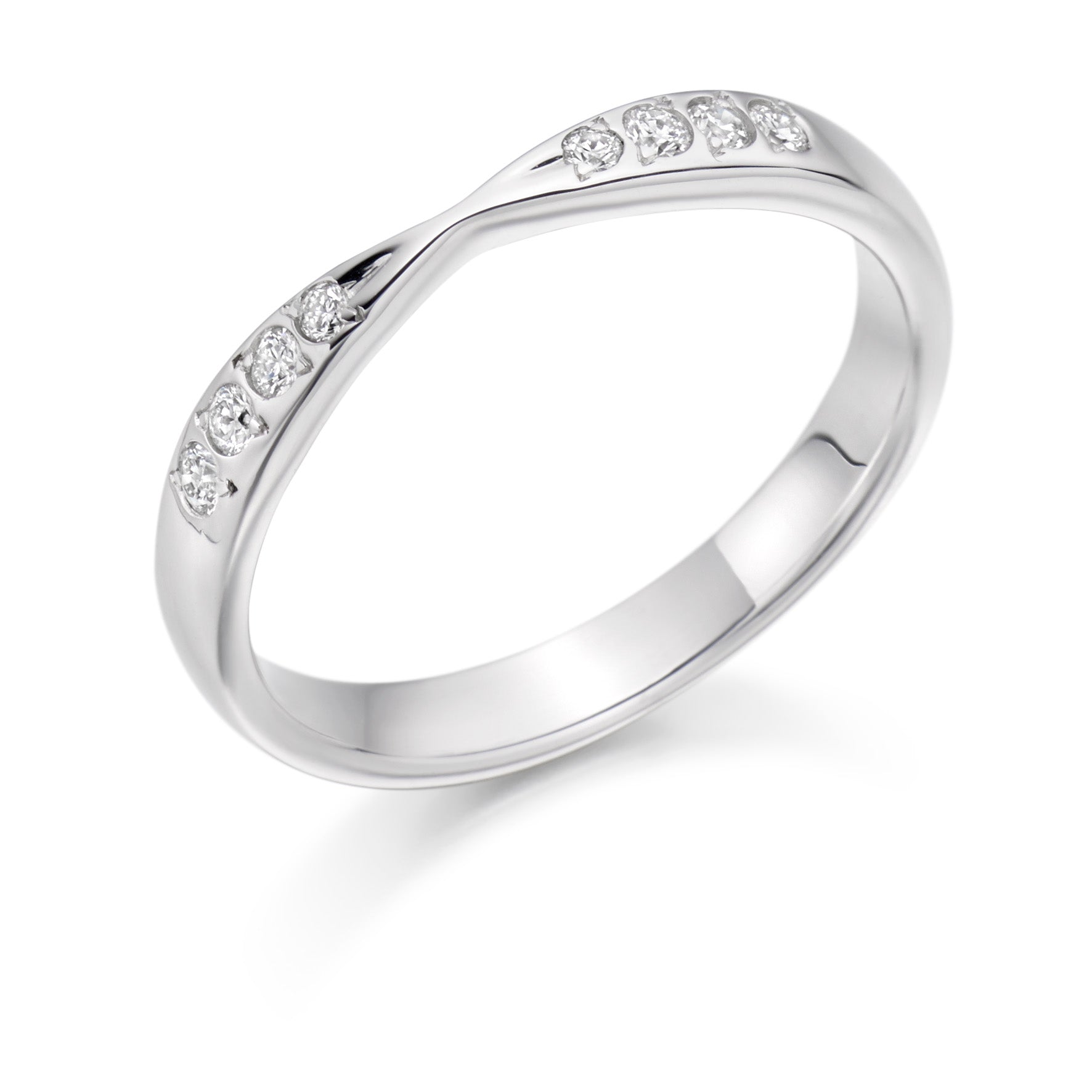0.15ct Round Brilliant Cut Diamonds Curved and shaped - Wedding Ring - (Home Try-On)