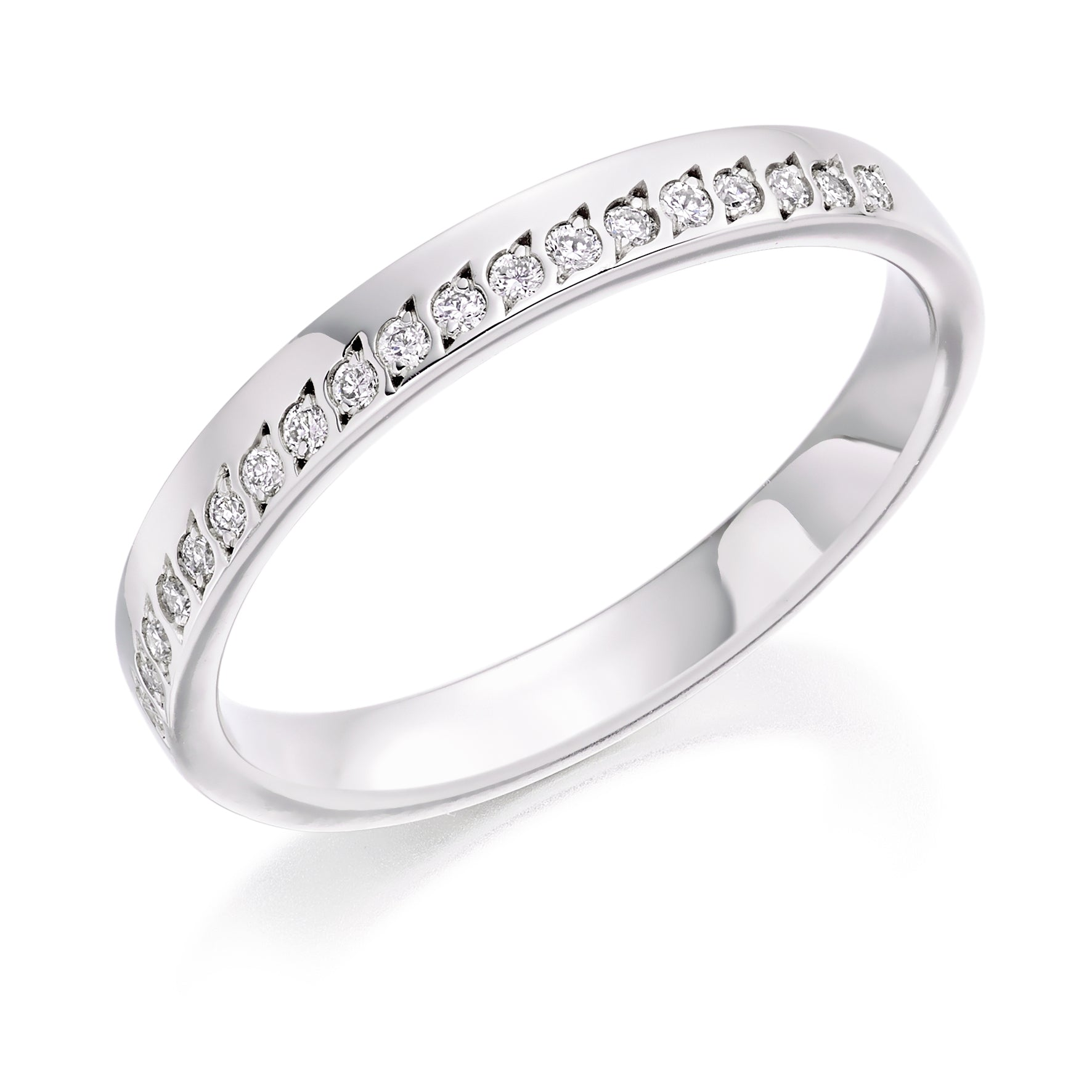 18ct White Gold 0.15ct Round Brilliant Cut Diamonds Offset Wedding Ring
