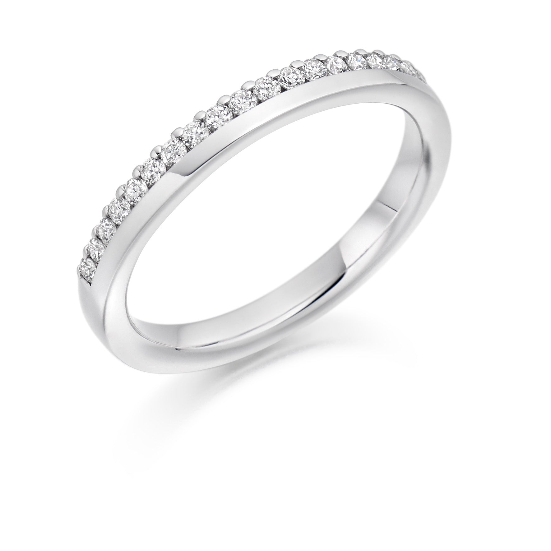 18ct White Gold 0.22ct Round Brilliant Cut Diamonds Offset Vintage Wedding Ring