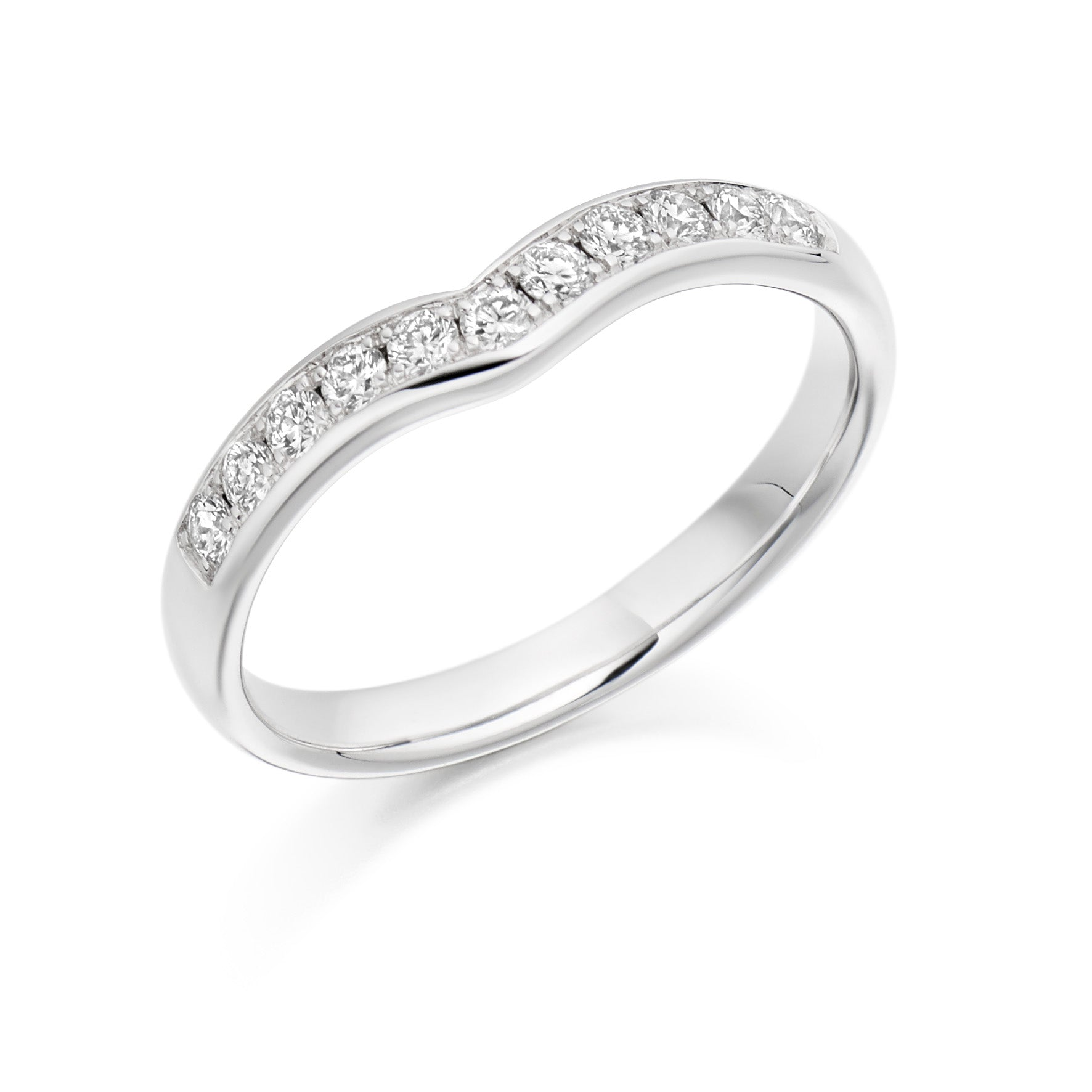 0.30ct Round Brilliant Cut Diamonds Curve Shaped- Wedding Ring - (Home Try-On)
