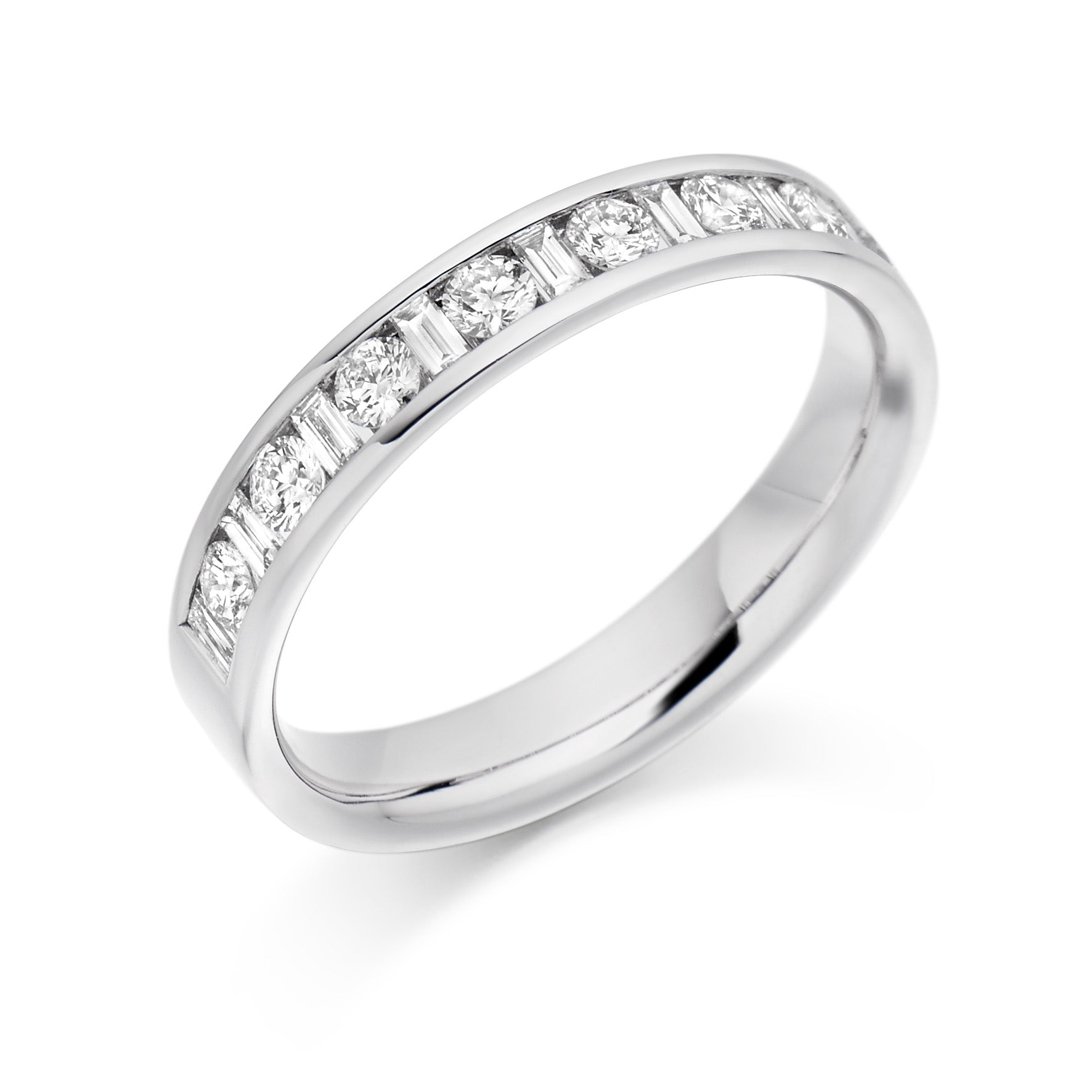 0.50ct Round Brilliant Cut and Baguette Cut Diamonds Wedding Ring - (Home Try-On)