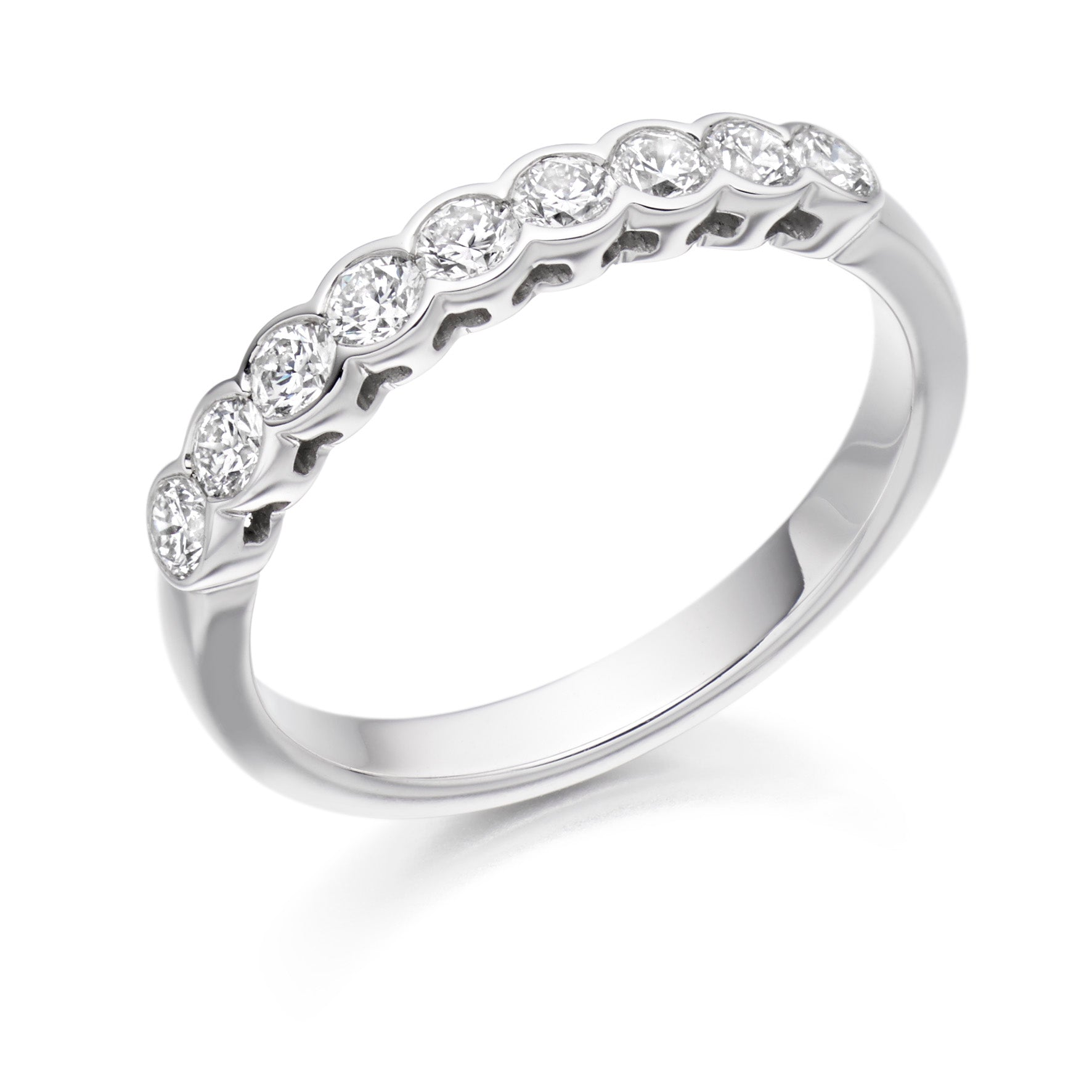 0.50ct Round Brilliant Cut Diamond Rubover Set Eternity Ring - (Home Try-On)