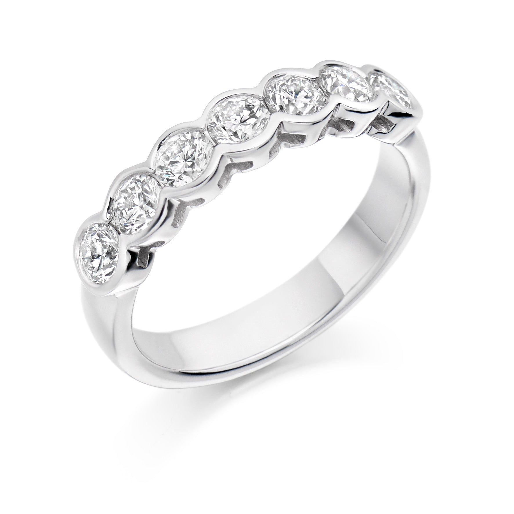 1ct Round Brilliant Cut Diamond Rubover Set Eternity Ring - (Home Try-On)