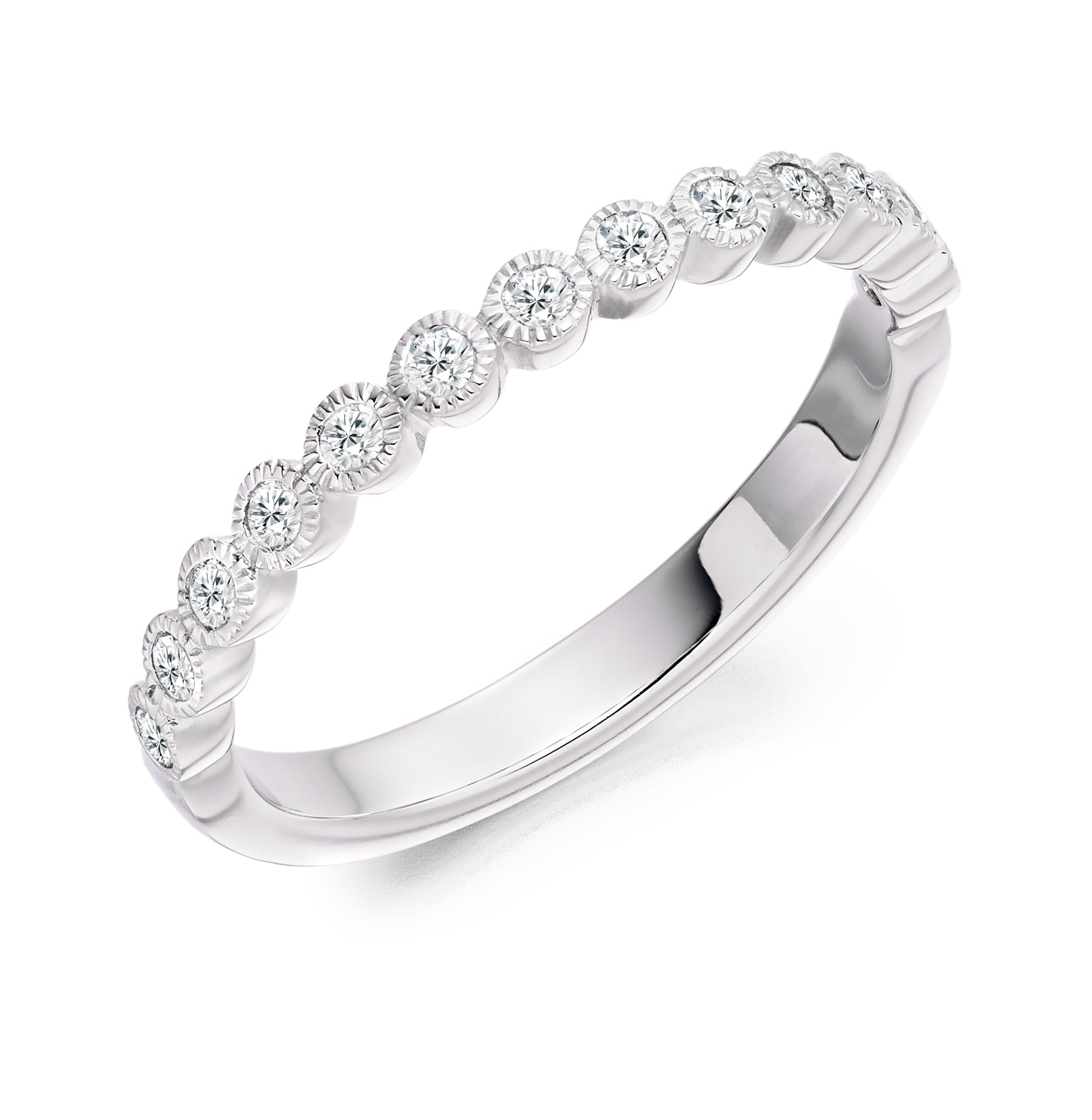 0.25ct Round Brilliant Cut Diamond Rubover Set Eternity Ring - (Home Try-On)