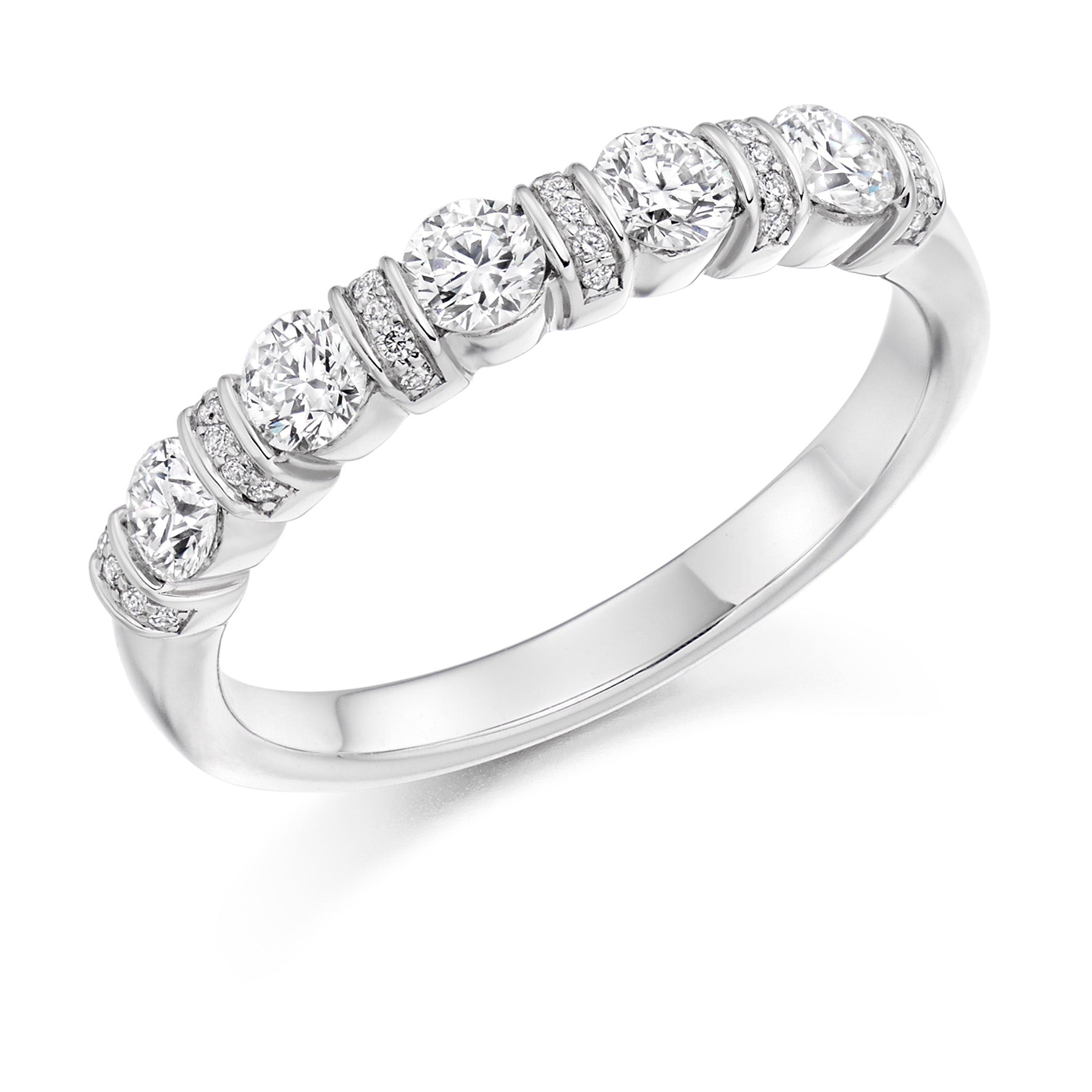18ct White Gold 0.6ct Round Brilliant Cut Diamonds Wedding Ring