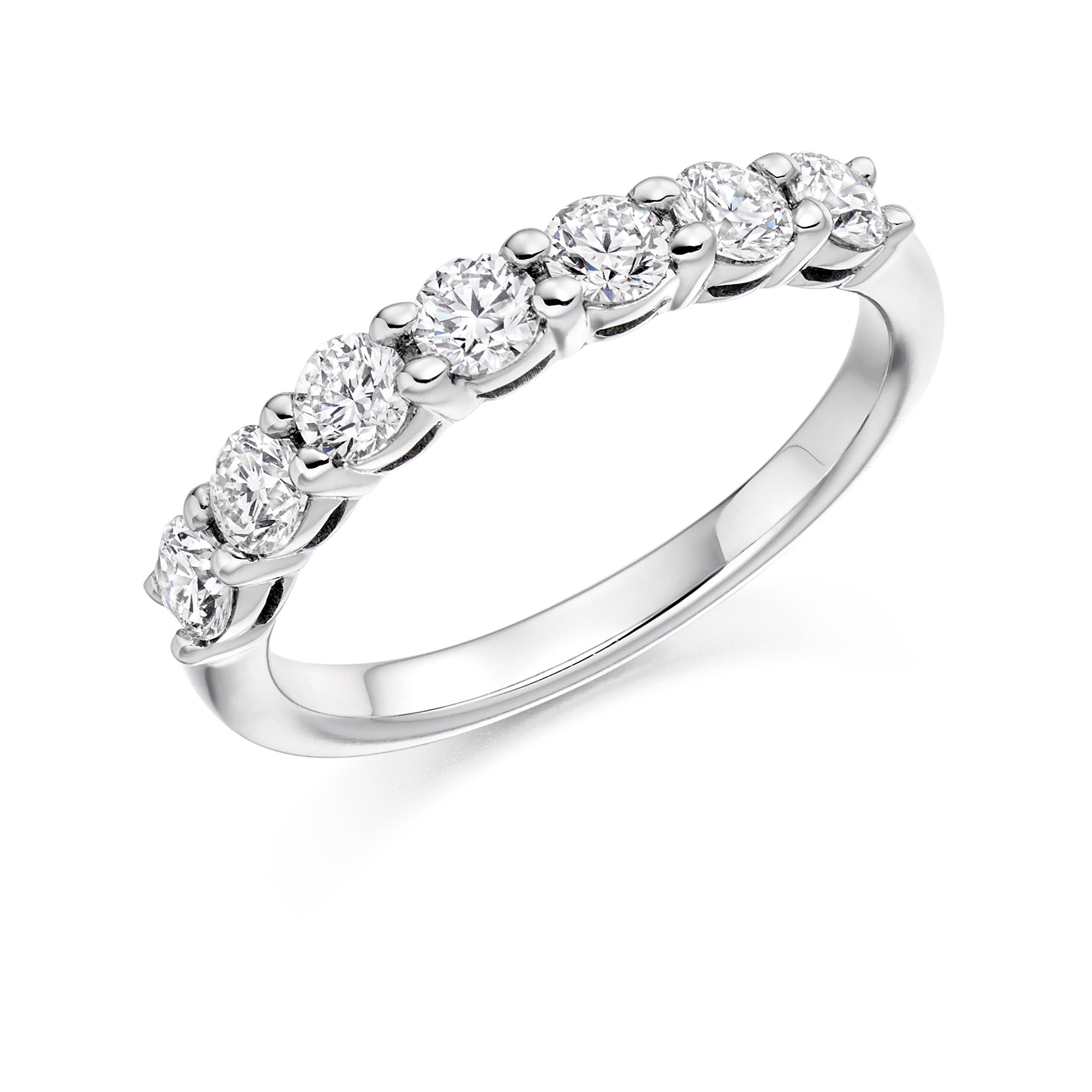 18ct White Gold 0.75ct Round Brilliant Cut Diamonds Wedding Ring