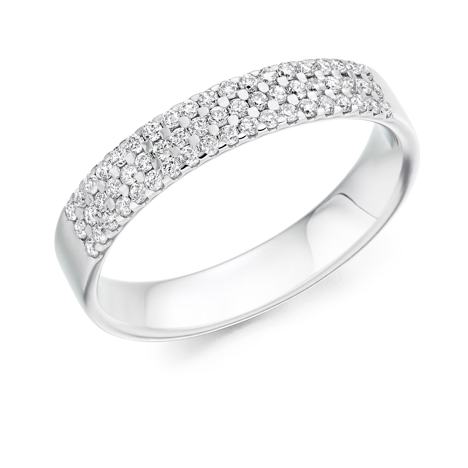 0.34ct Round Brilliant Cut Diamond Treble Row Eternity Ring - (Home Try-On)