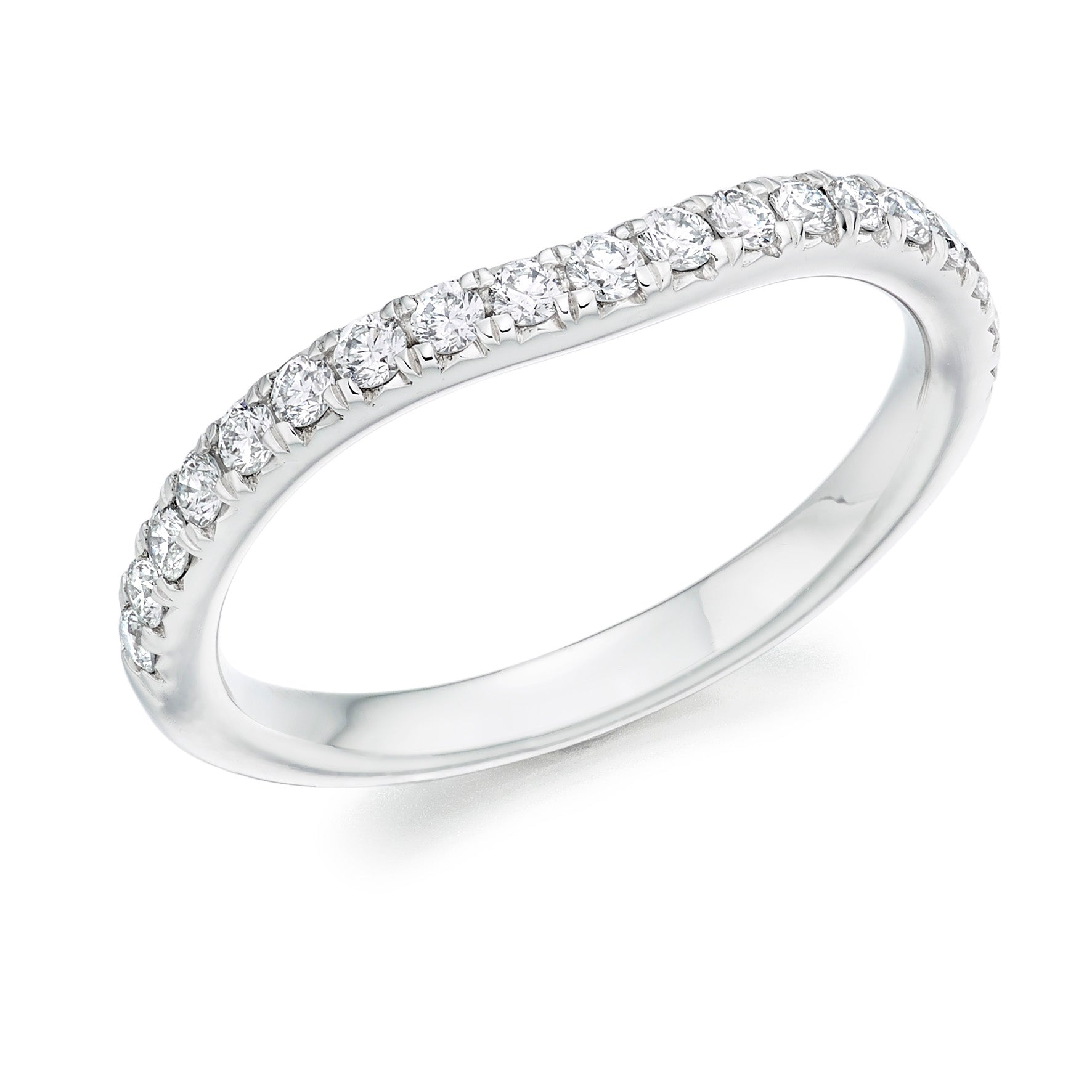 18ct White Gold 0.35ct Round Brilliant Cut Diamonds Curved Wedding Ring