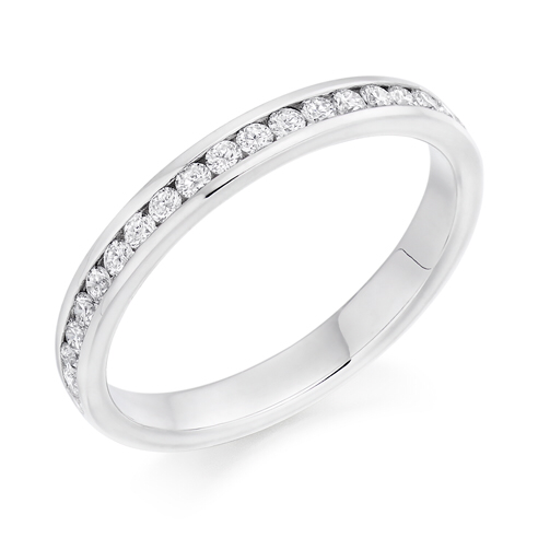 18ct White Gold 0.33ct Round Brilliant Cut Diamonds Channel Set Vintage Wedding Ring