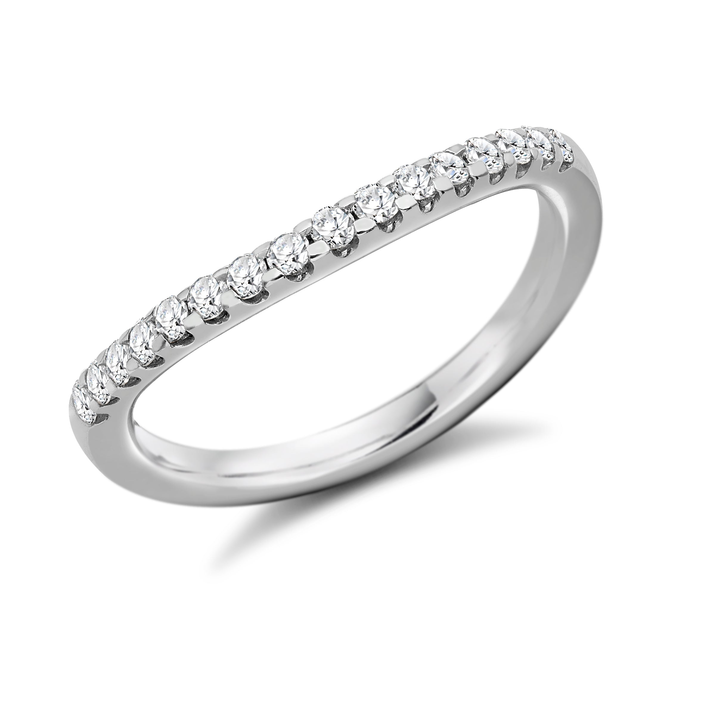 18ct White Gold 0.3ct Round Brilliant Cut Diamonds Curved Shaped Vintage Wedding Ring
