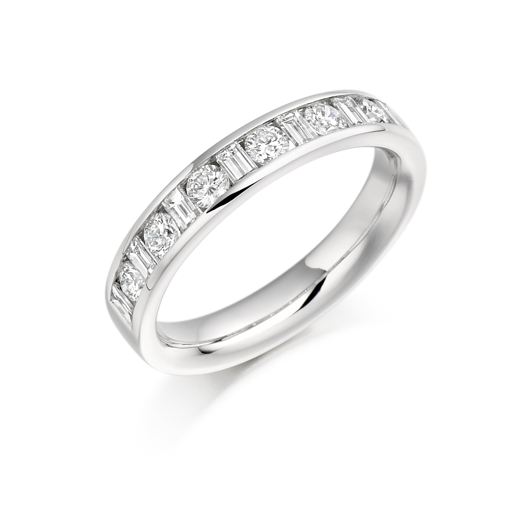 Round Brilliant & Baguette Cut Eternity Ring - (Home Try-On)