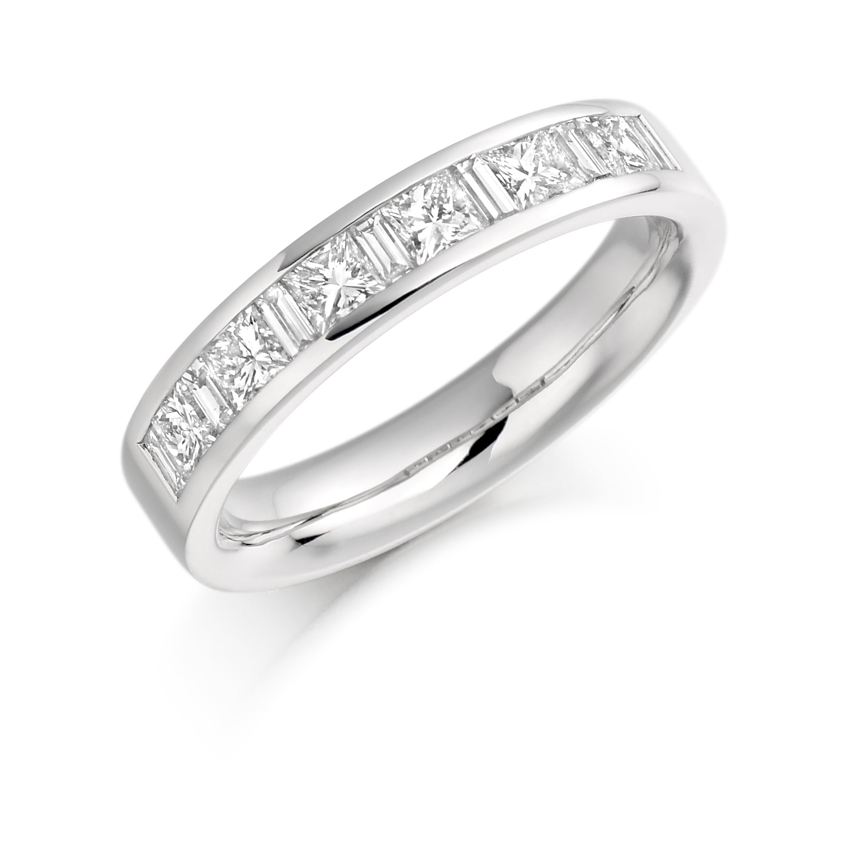 1ct Princess & Baguette Cut Wedding Ring - (Home Try-On)