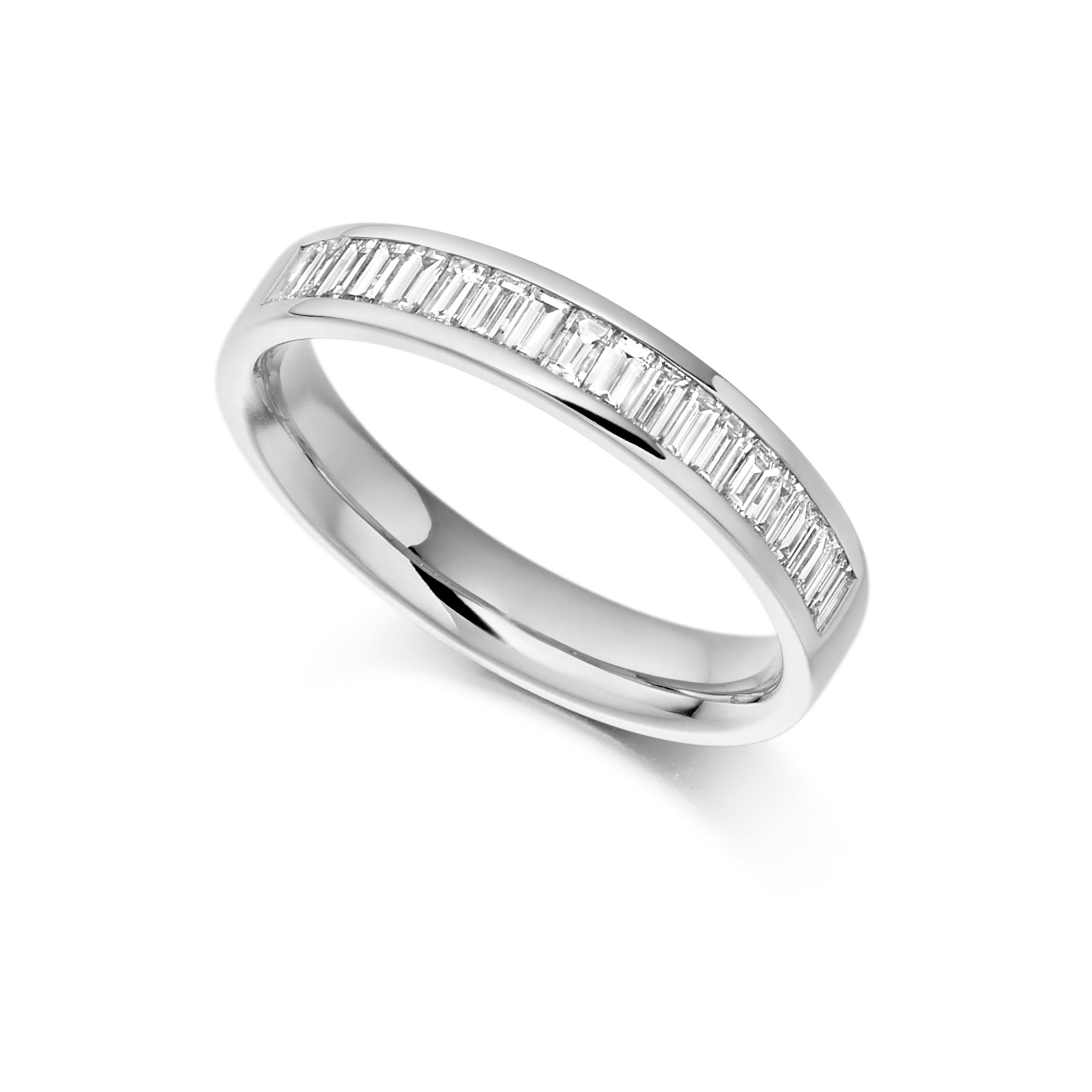 18ct White Gold 0.56ct Baguette Cut Diamonds Channel Set Vintage Wedding Ring