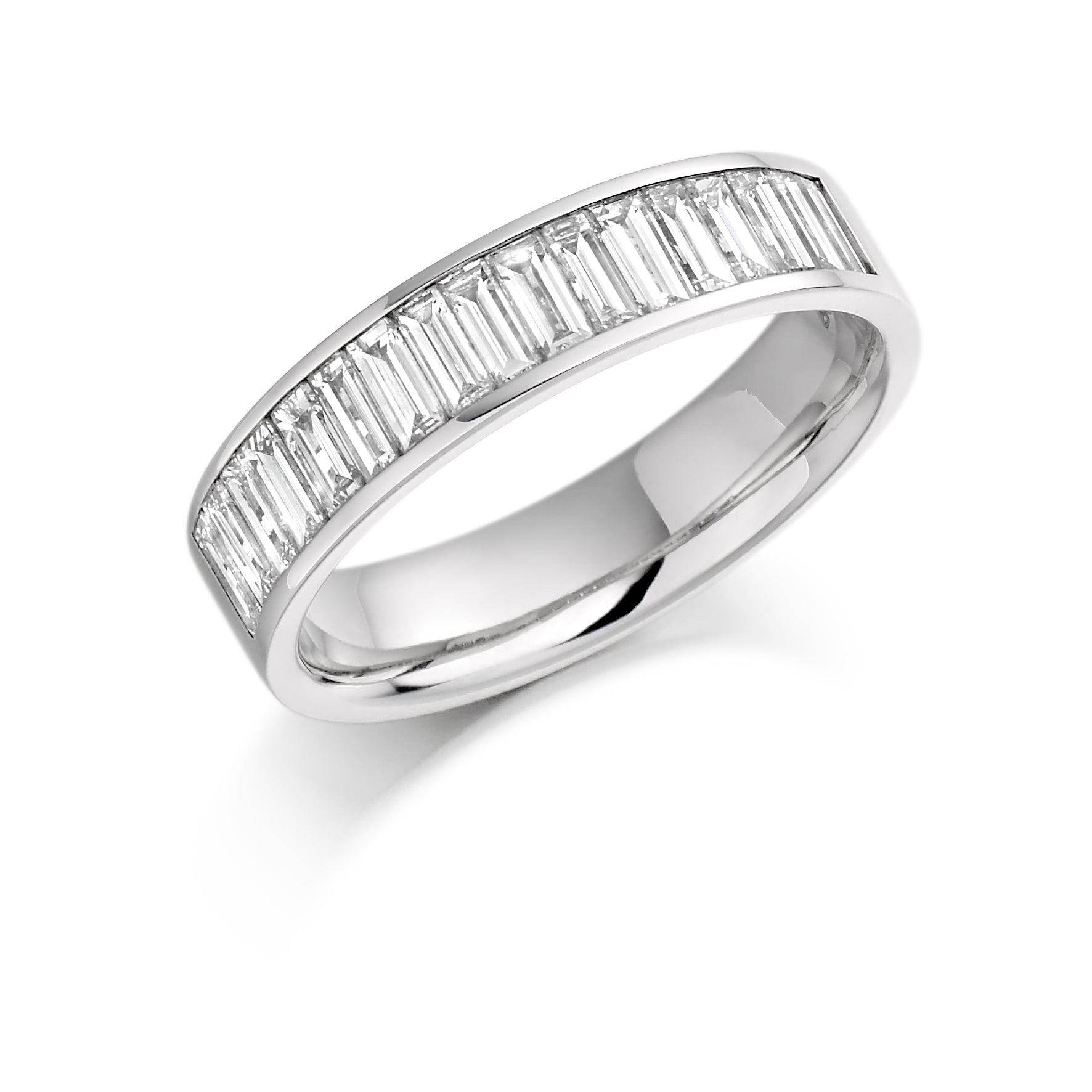 18ct White Gold 1ct Baguette Cut Diamond Channel Set Vintage Wedding Ring