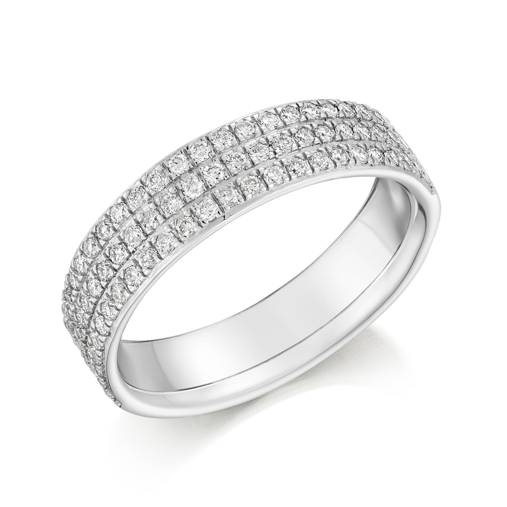 0.50ct Round Brilliant Cut Diamond Treble Row Wedding Ring - (Home Try-On)