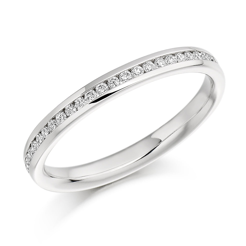 18ct White Gold 0.15ct Round Brilliant Cut Diamonds Channel Set Wedding Ring