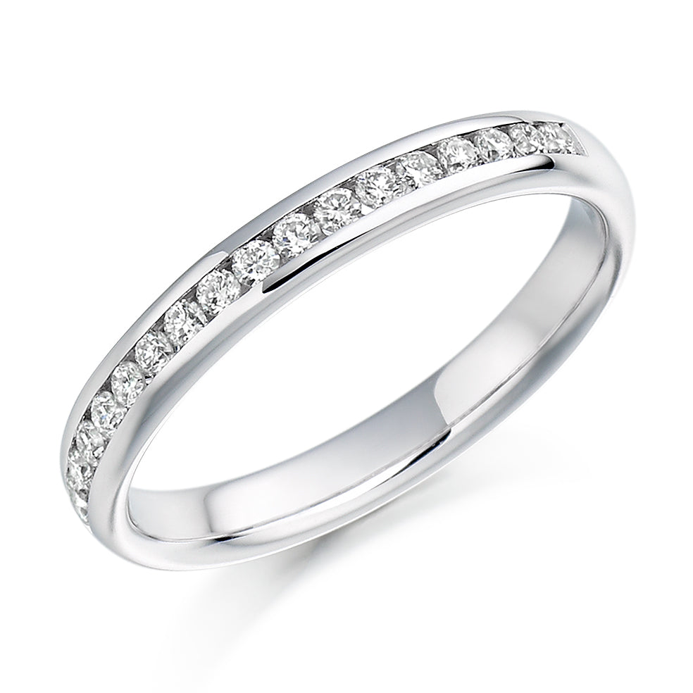 18ct White Gold 0.22ct Round Brilliant Cut Diamonds Channel Set Vintage Wedding Ring