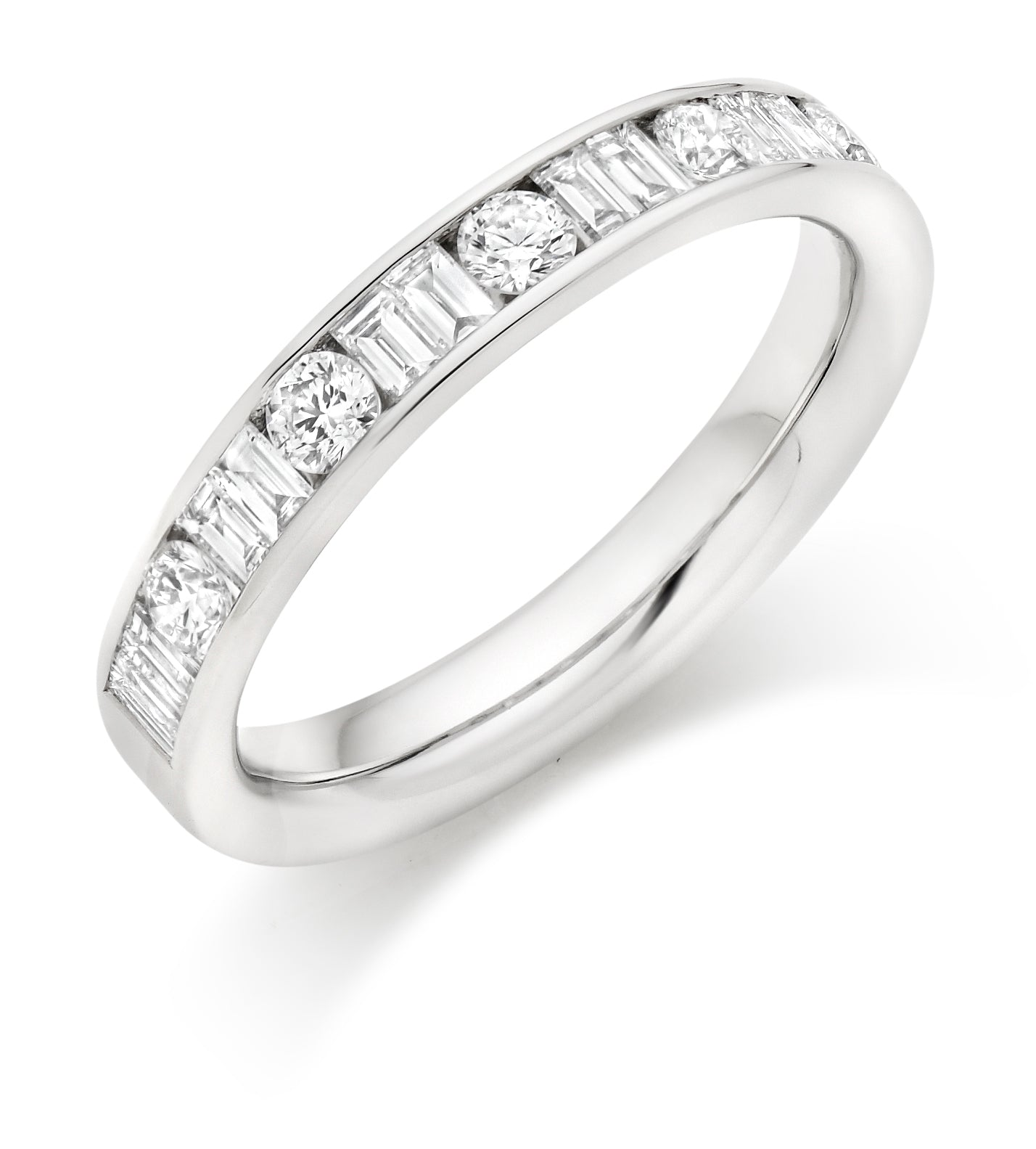 0.75ct Round Brilliant Cut and Baguette Cut Diamonds Wedding Ring - (Home Try-On)