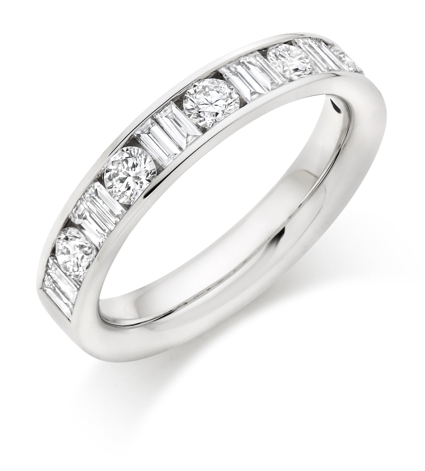 1ct Round Brilliant Cut and Baguette Cut Diamonds Wedding Ring - (Home Try-On)