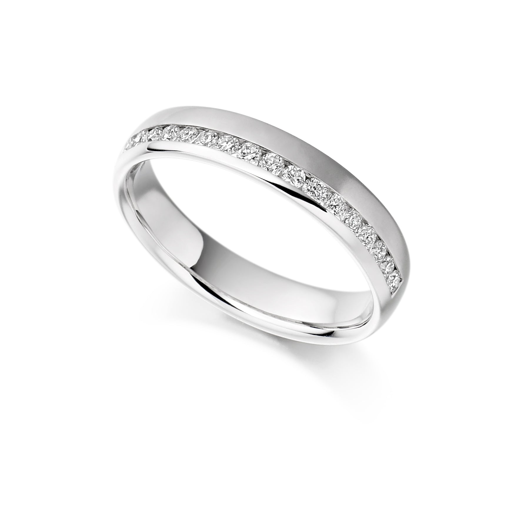 18ct White Gold 0.26ct Round Brilliant Cut Diamonds Channel Set Offset Vintage Wedding Ring