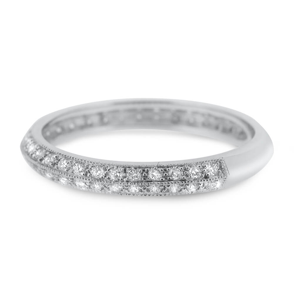 18ct White Gold 0.6ct Double Row Diamond Ring