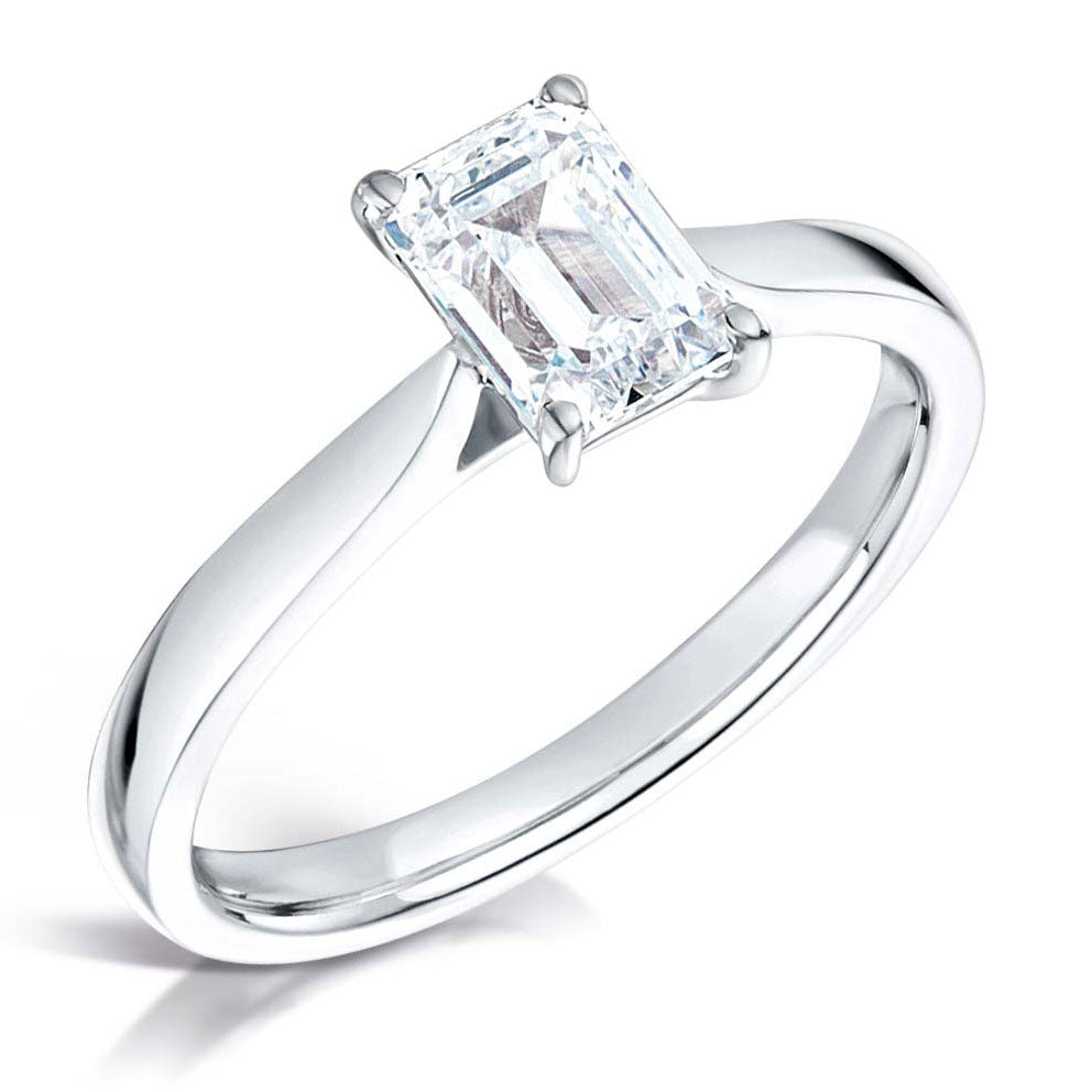 18ct White Gold 1ct Emerald Cut Diamond Solitaire Engagement Ring MTSS-0583