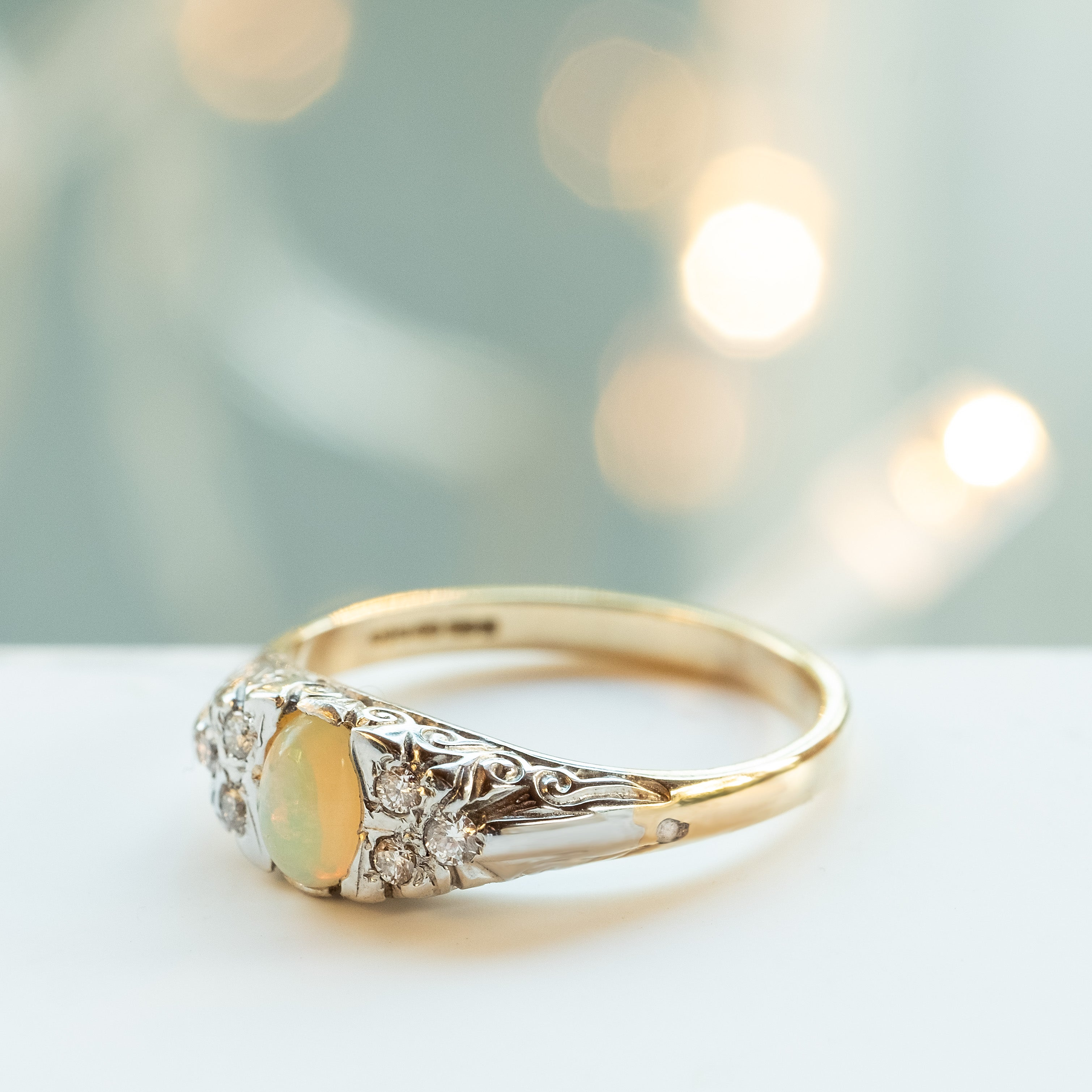 Gold Opal & Diamond Ring