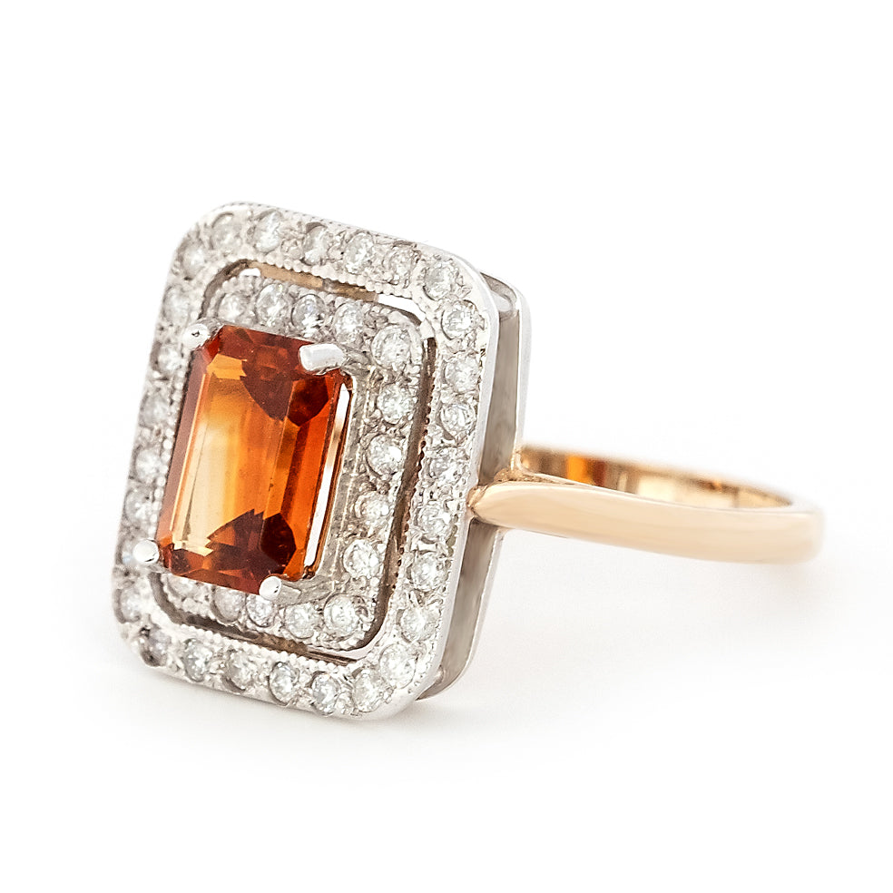 9ct Gold Octagonal Dark Citrine and Diamond Double Halo Ring
