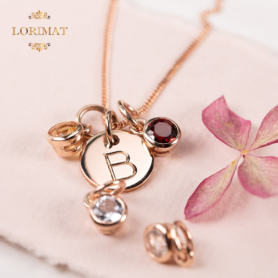 Small Rose Gold Initial Necklace
