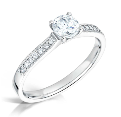 18ct White Gold 0.75ct Round Brilliant Cut Diamond with Diamond Set Shoulders Engagement Ring