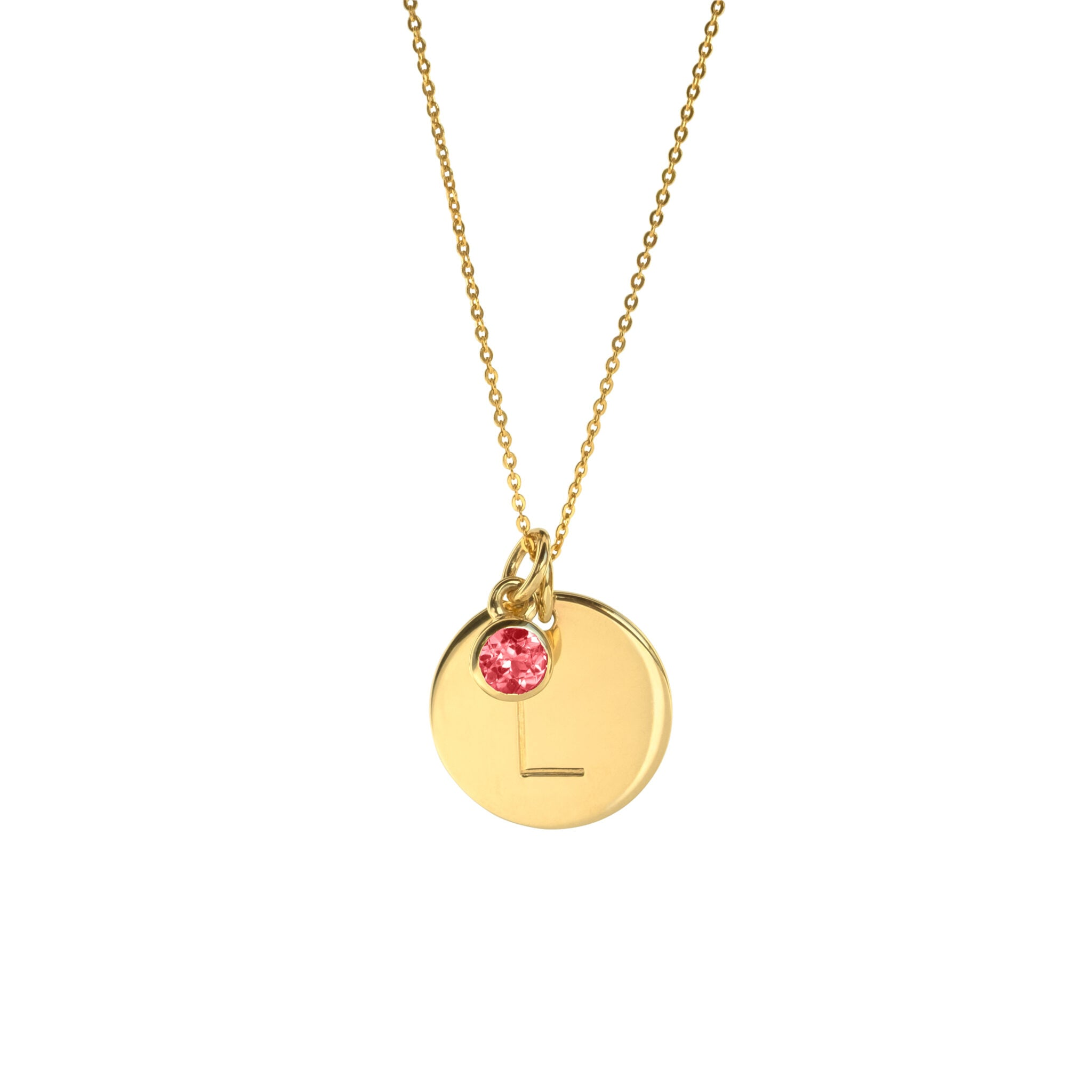 Large Gold Initial Necklace with Birthstone Charm