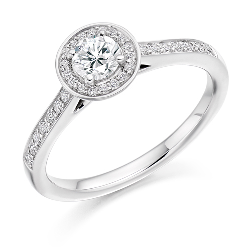 Round Brilliant Cut Halo Engagement Ring 0.33ct - Home Try-On