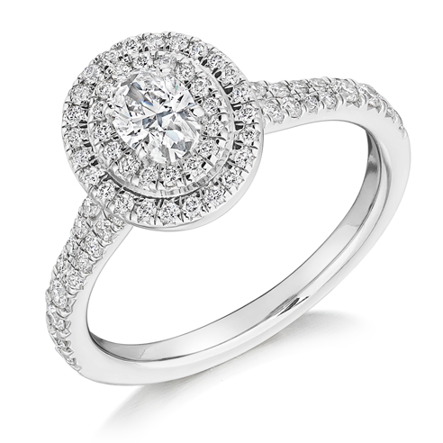 Oval Cut Double Halo Engagement Ring 0.33ct - Home Try-On (€3,650)