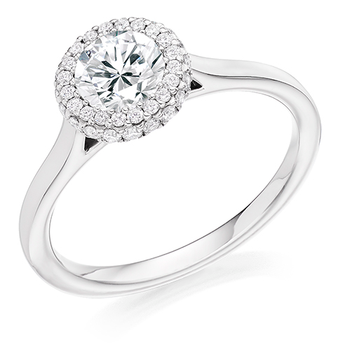 Round Brilliant Cut Halo Engagement Ring 0.75ct - Home Try-On (€6,855)